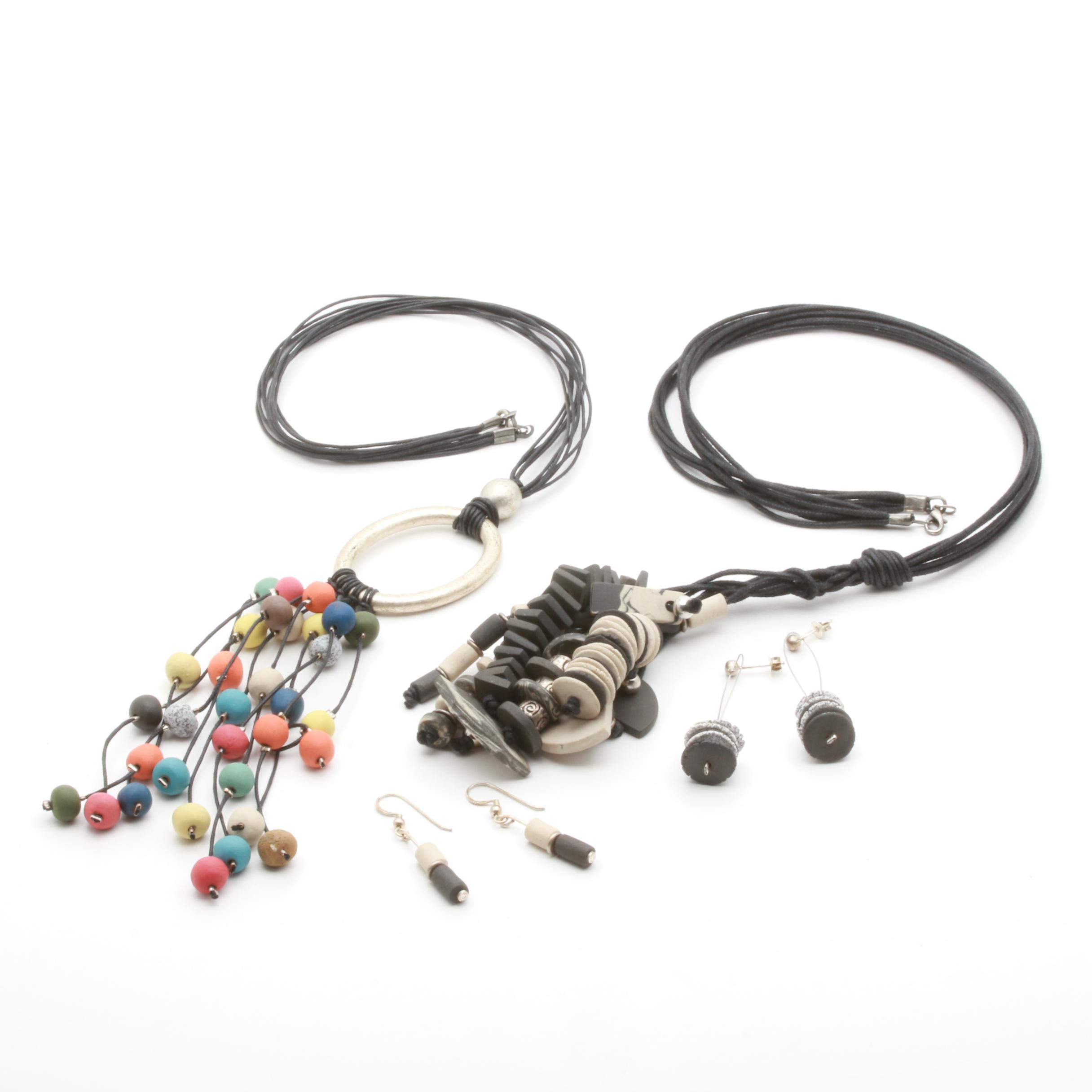 Assorted Ceramic Necklaces and Sterling Silver Earrings