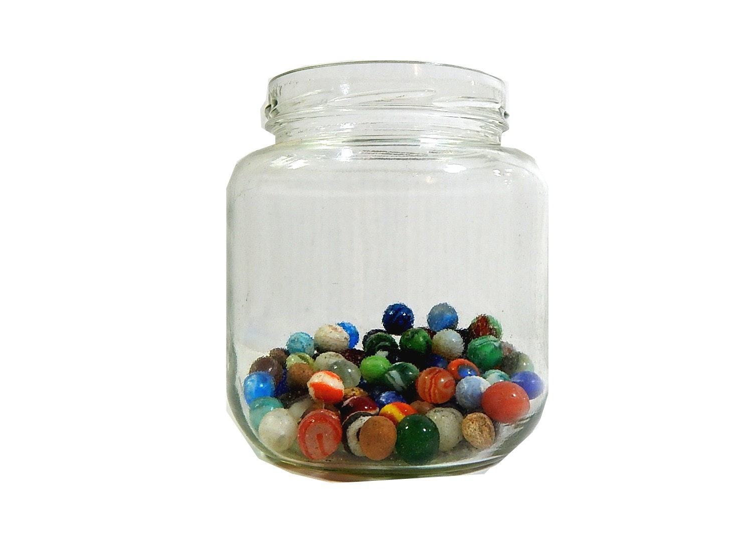 Vintage Glass Marbles in Jar - 100 Count