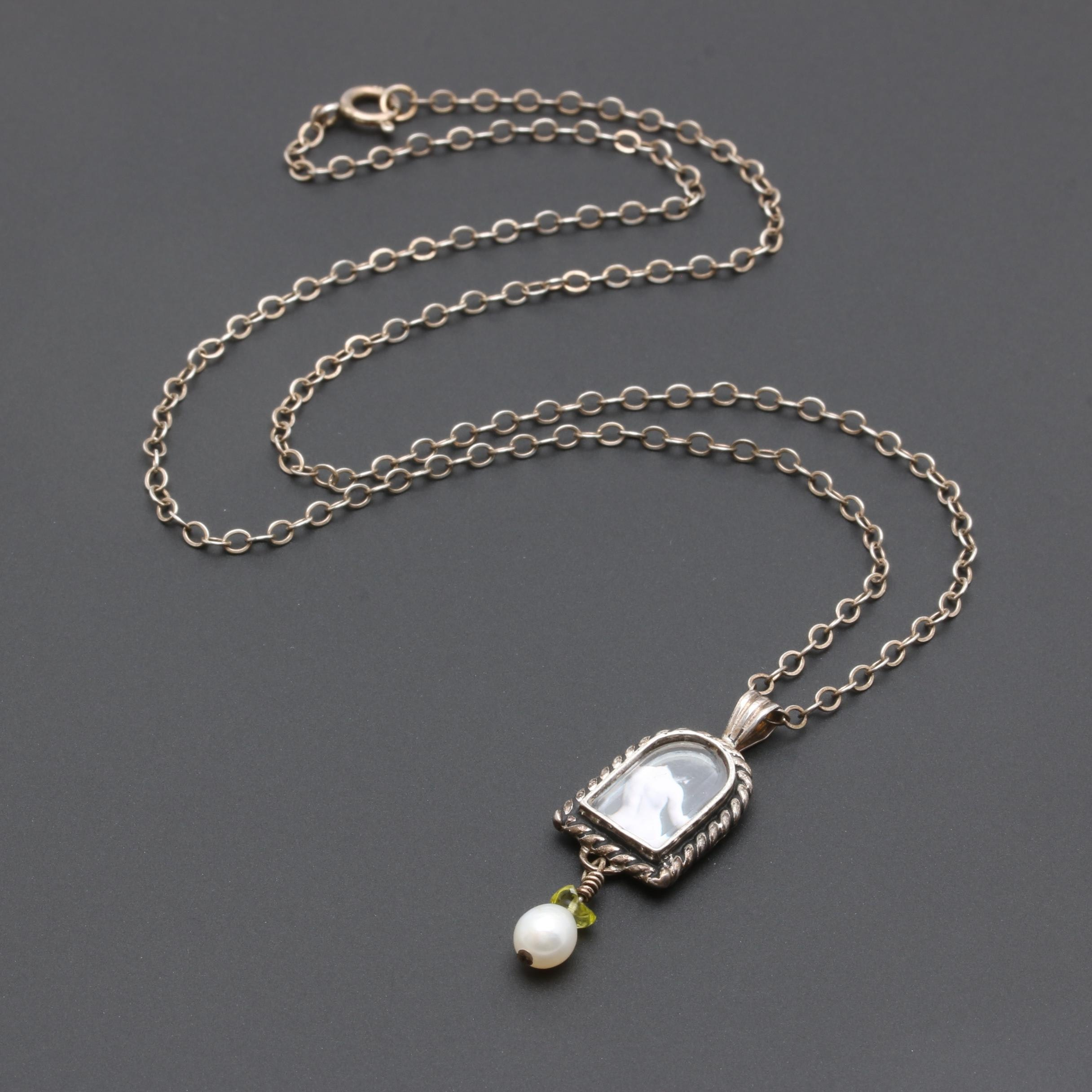 Sterling Silver Cultured Pearl and Peridot Pendant Necklace
