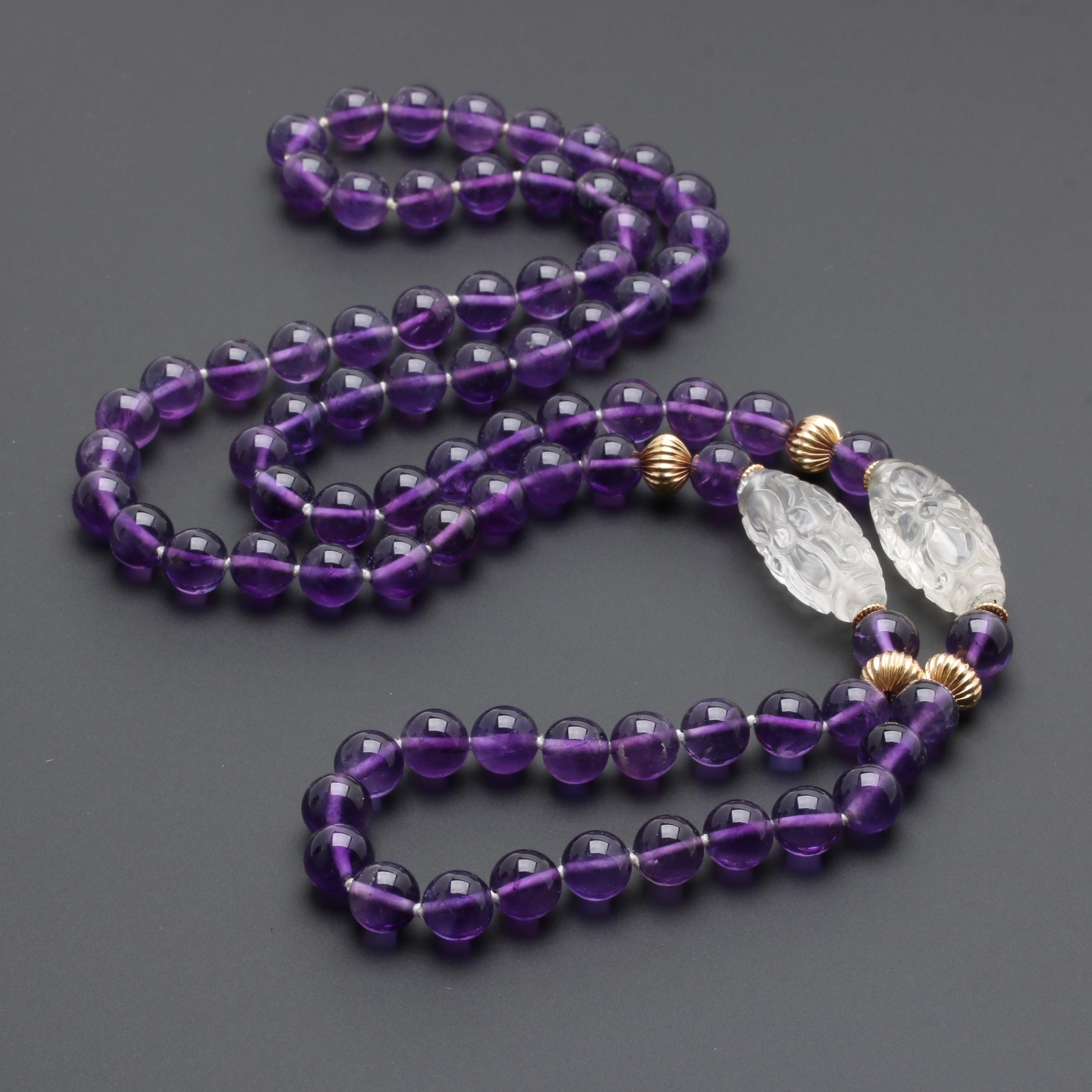 14K Yellow Gold Quartz and Amethyst Necklace