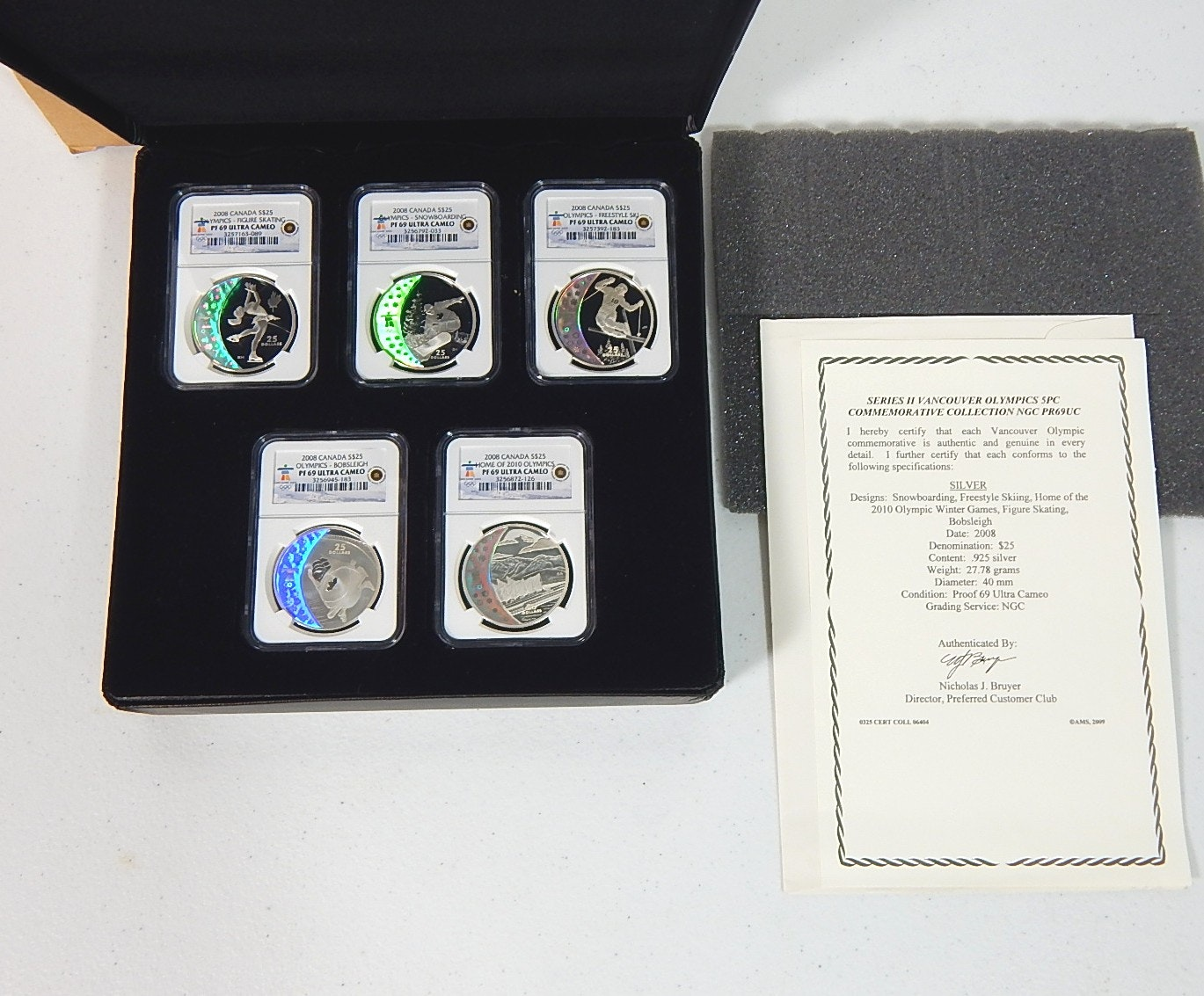 2008 Ultra Cameo Series II Vancouver Olympics 5 Pc Silver Commemoratives