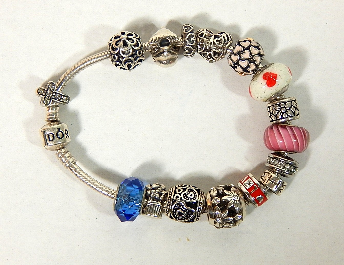 Pandora Sterling Silver Charm Bracelet with Various Sterling Silver Charms