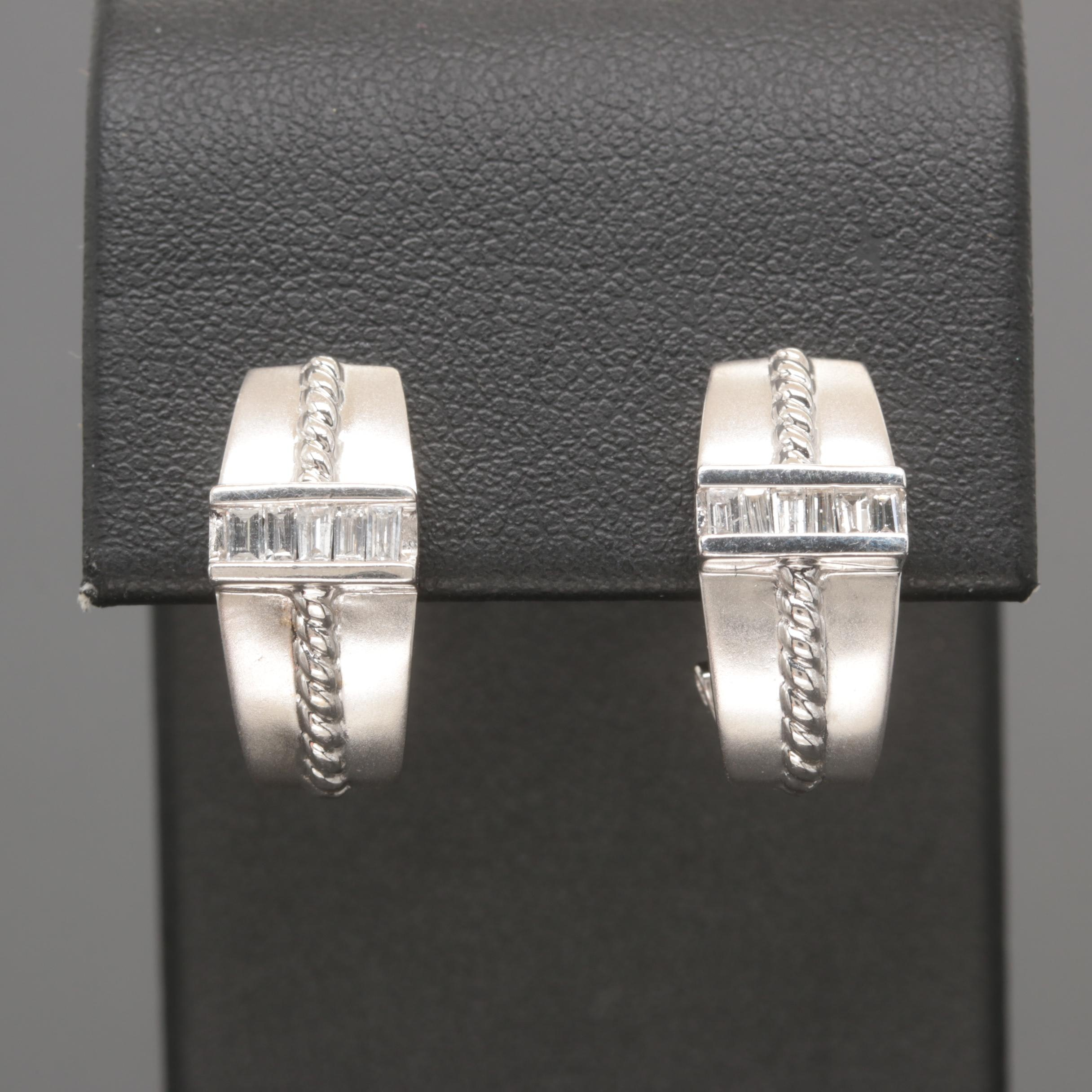 14K White Gold Diamond J-Hoop Earrings