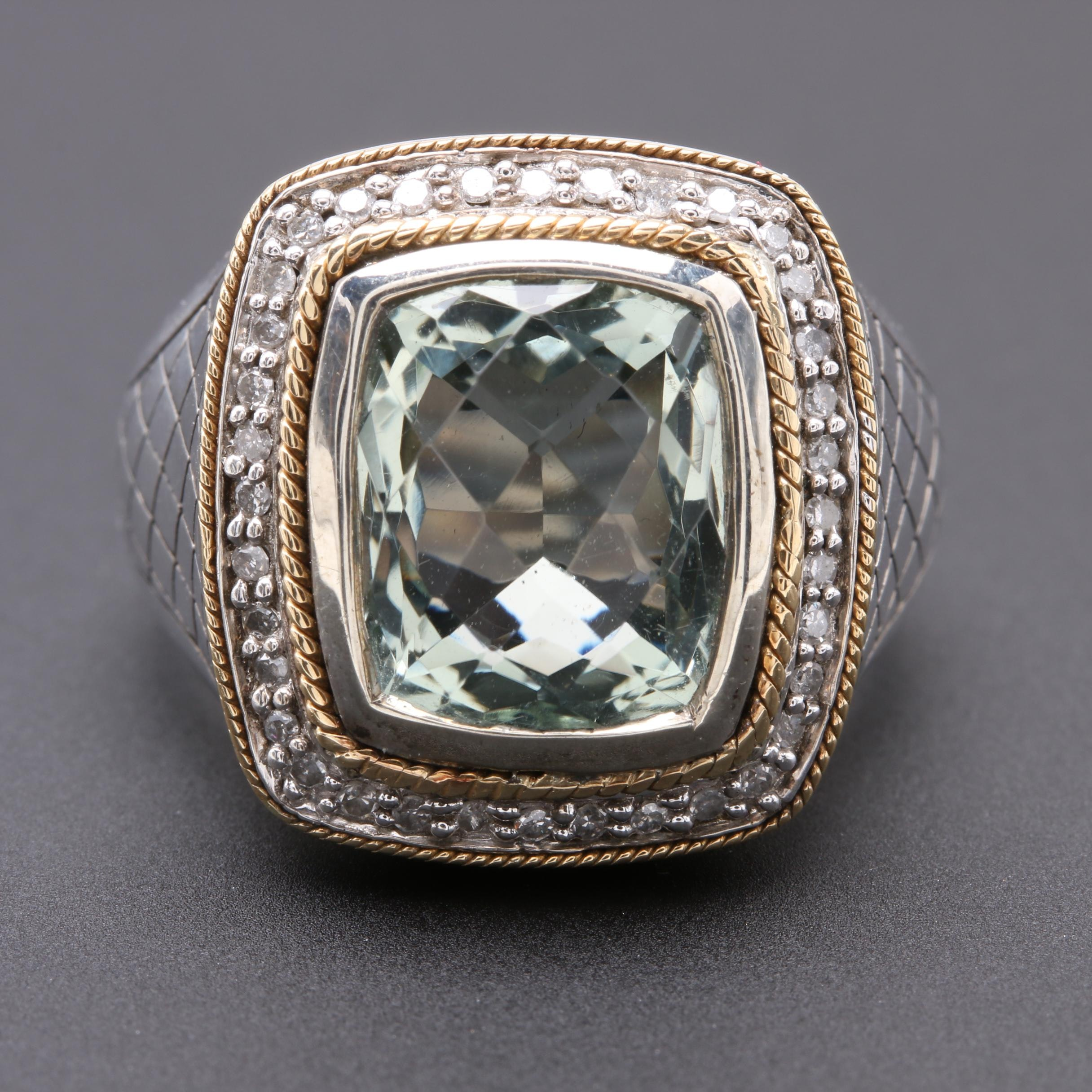 Sterling Silver Praseolite and Diamond Ring with 18K Yellow Gold Accents