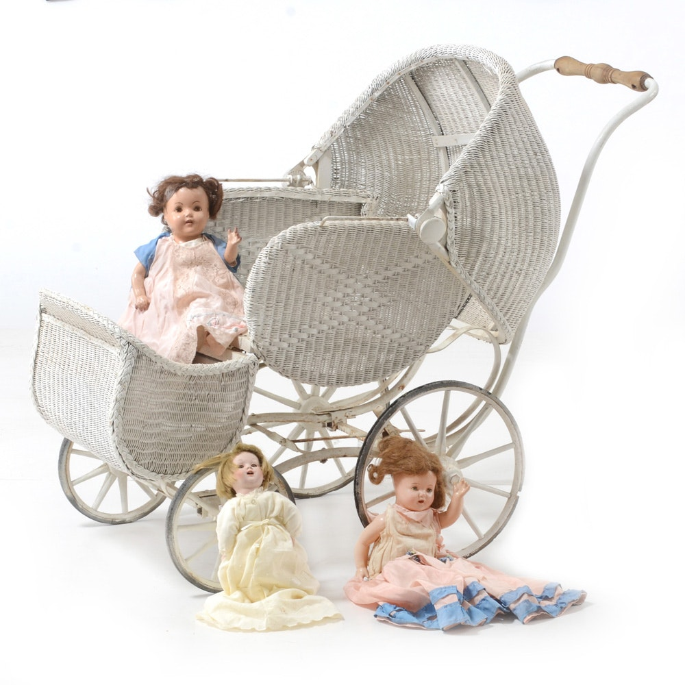 Vintage Wicker Baby Carriage with Dolls
