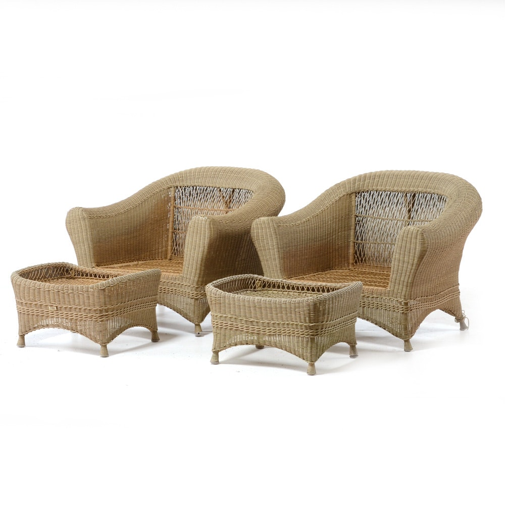 Pair of Wicker Armchairs with Ottomans