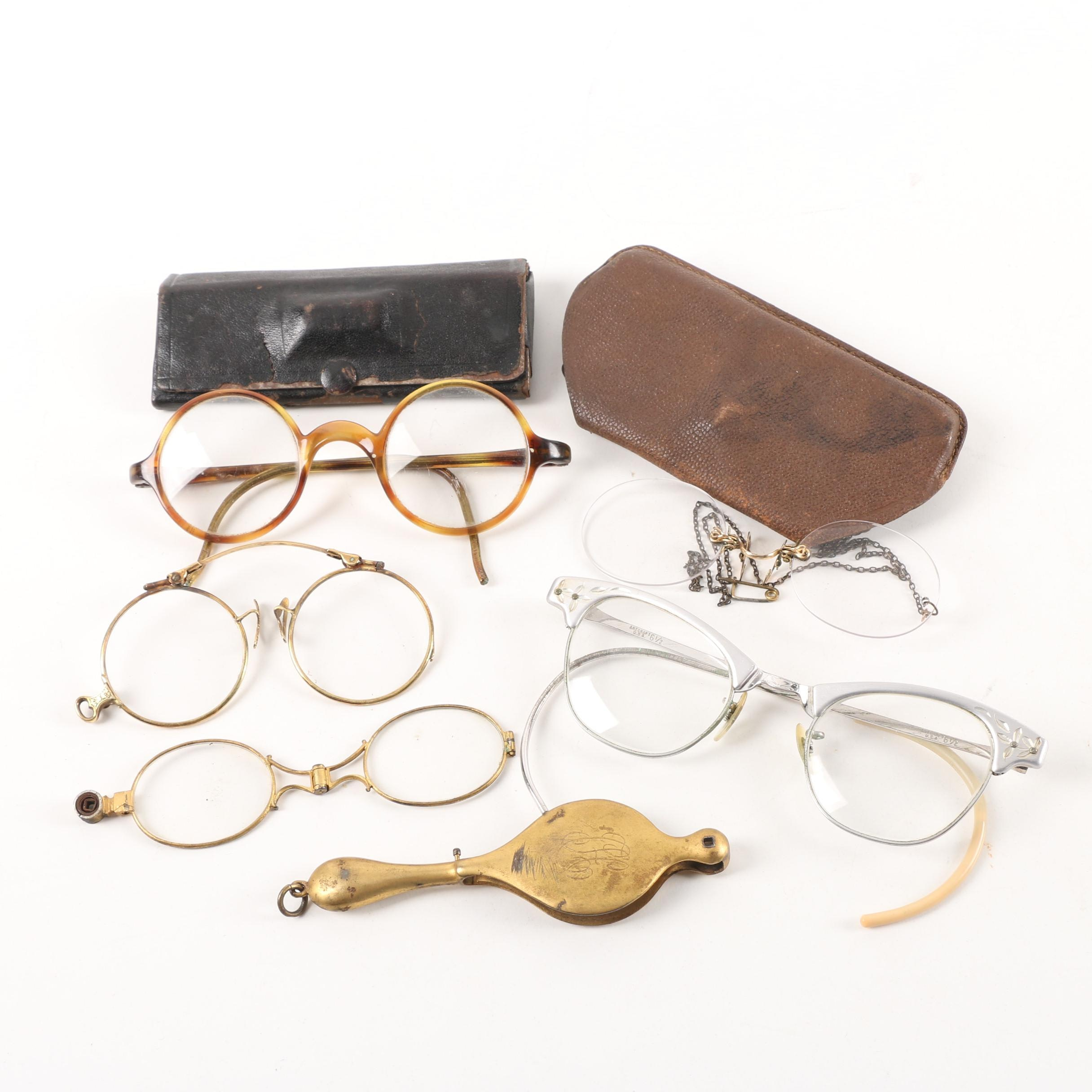 Antique and Vintage Eyeglasses and Leather Cases