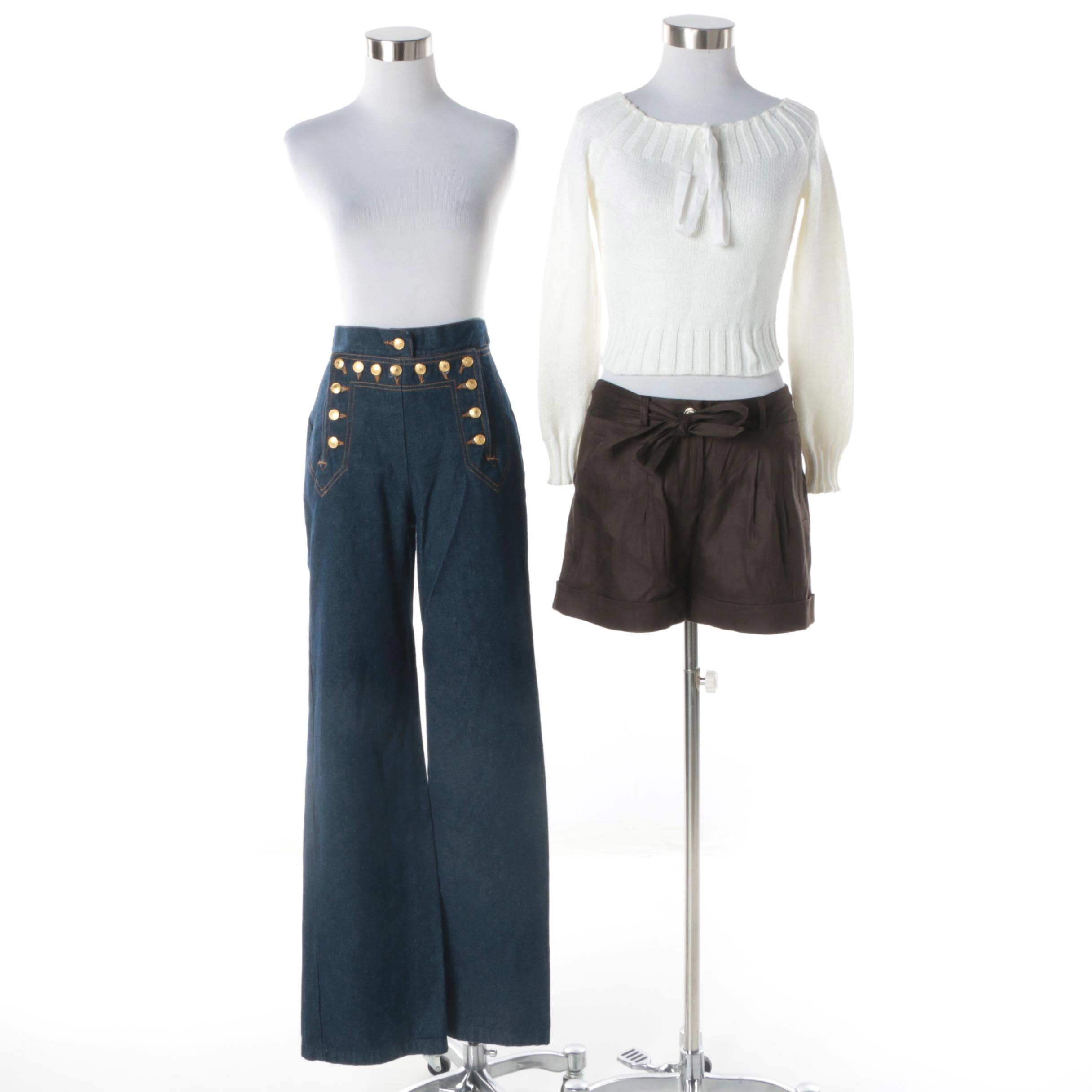 Moschino Cheap and Chic Sweater, Isaac Mizrahi Jeans and Kate Spade Shorts