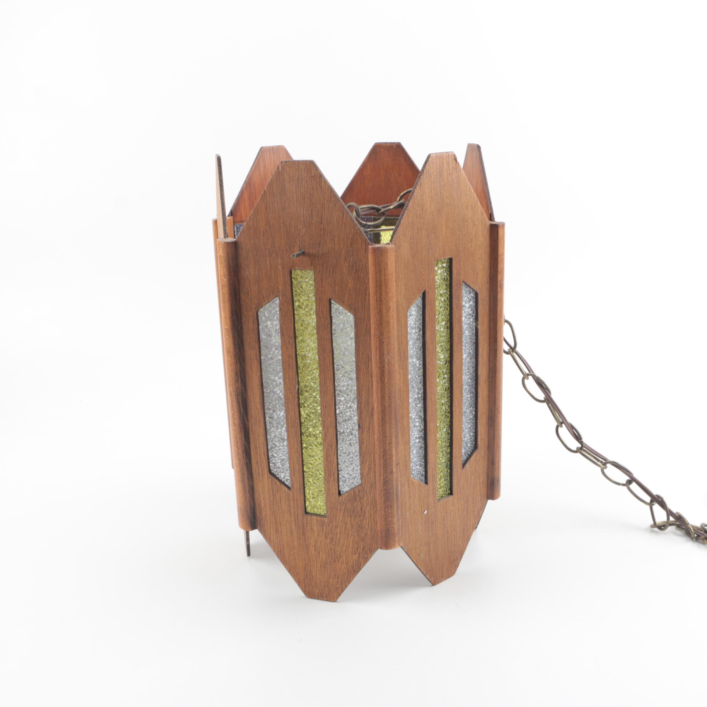 Mid Century Modern Style Wood Panel Lantern Pendant Light