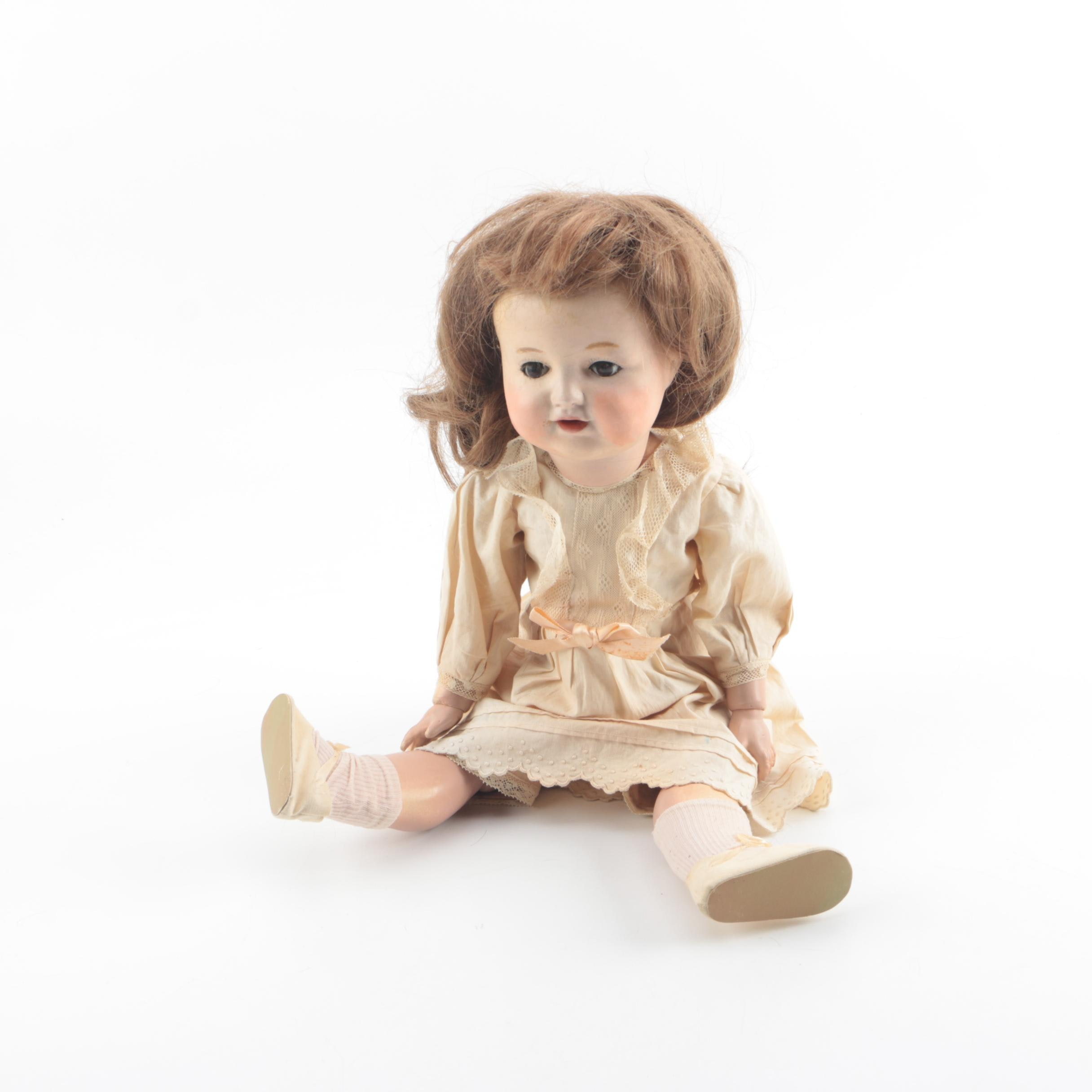 """Semi-Antique Japanese """"Nippon"""" Bisque and Composition Doll"""