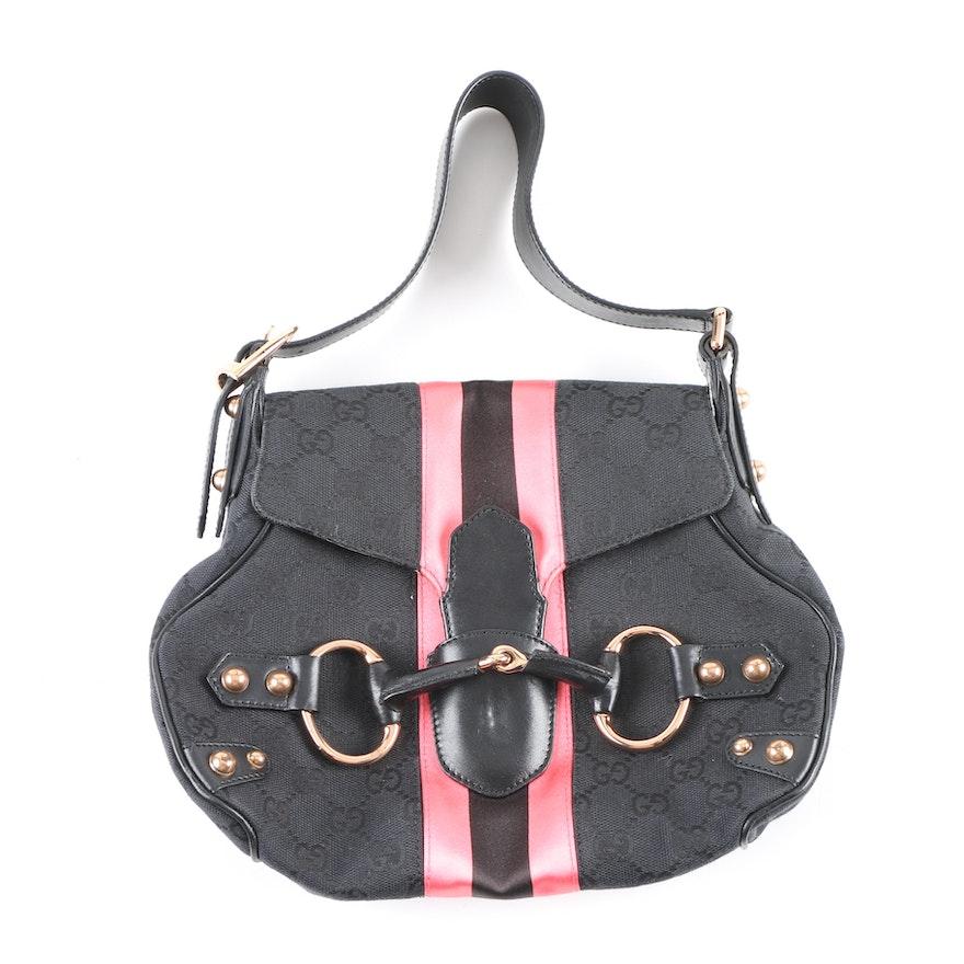 7500f0143a7 Gucci Black GG Canvas Pink Horsebit Small Shoulder Bag   EBTH