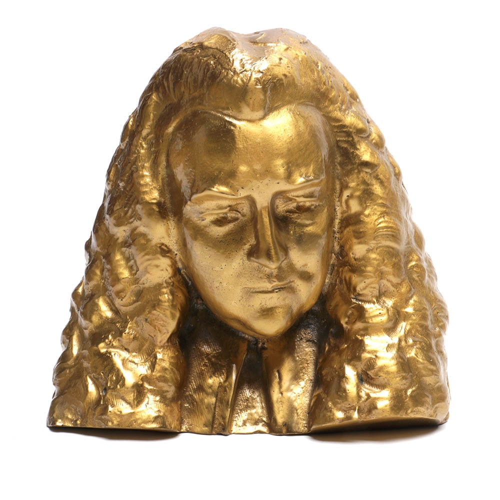 Signed 1927 Spelter Bust of 18th Century Figure