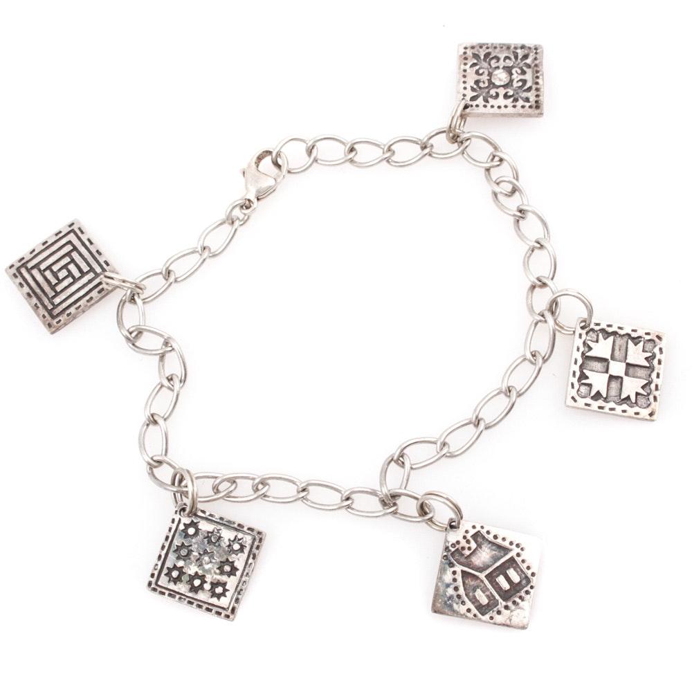 Sterling Silver Quilt Block Charm Bracelet