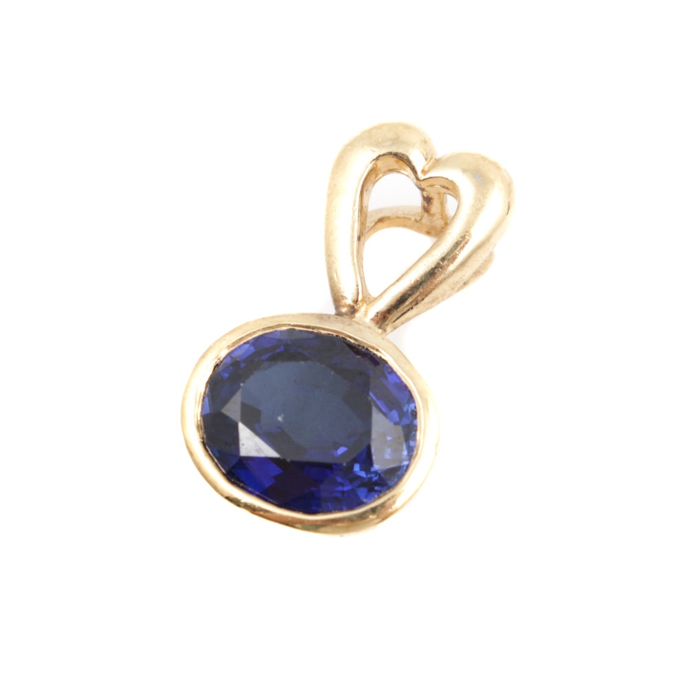 Gold Wash on Sterling Silver Synthetic Sapphire Pendant