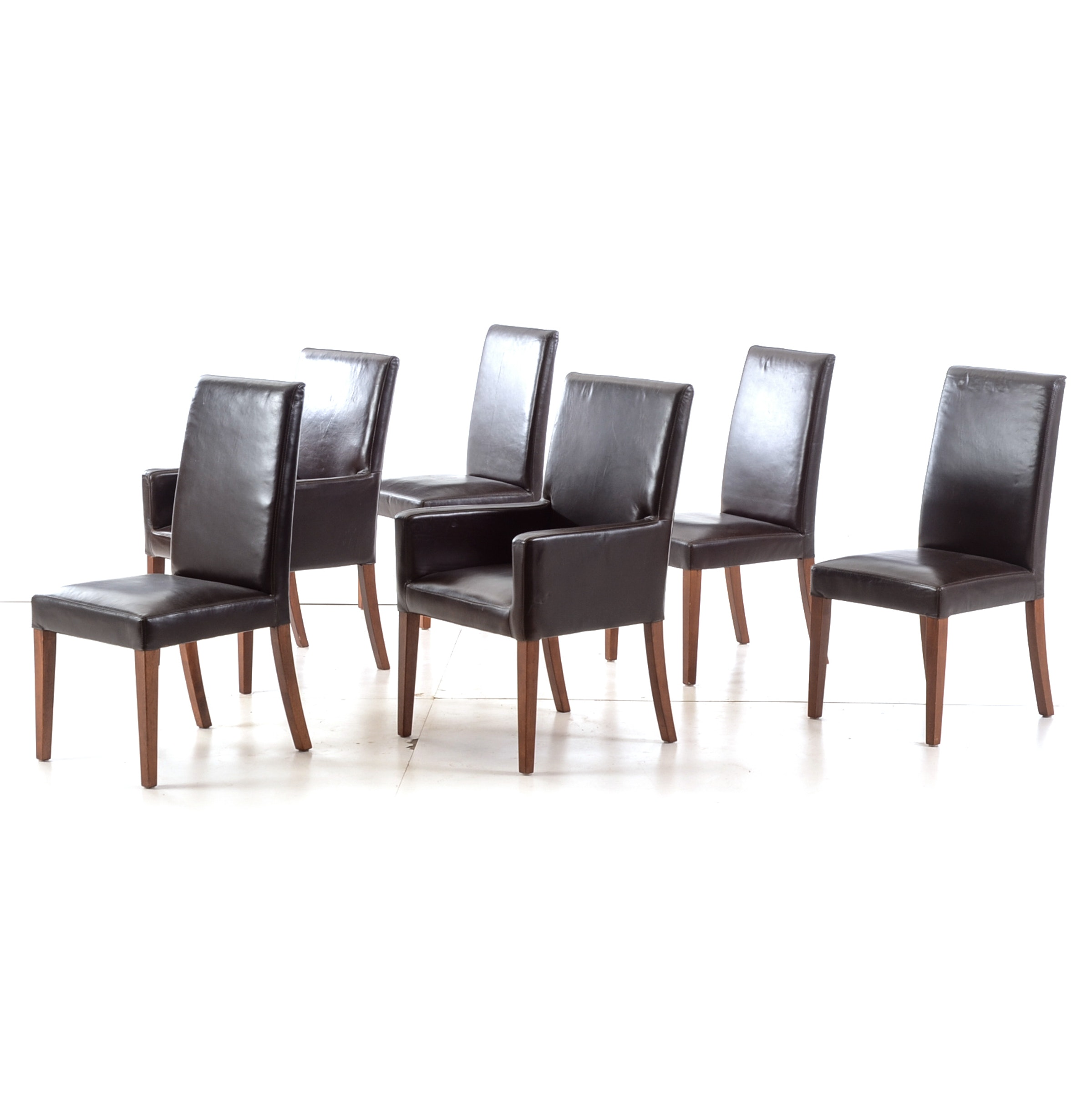 YANKED Set of Leather Upholstered Dining Chairs