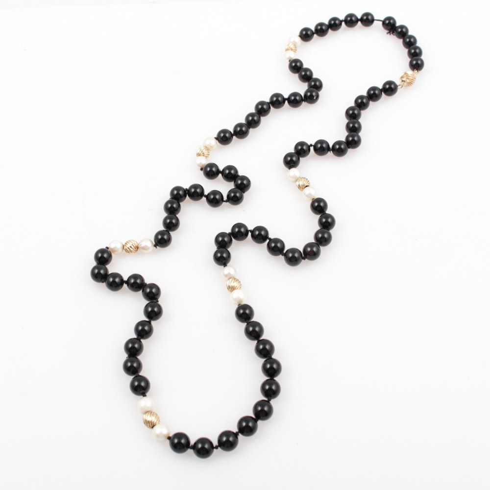 14K Yellow Gold Onyx and Cultured Pearl Necklace