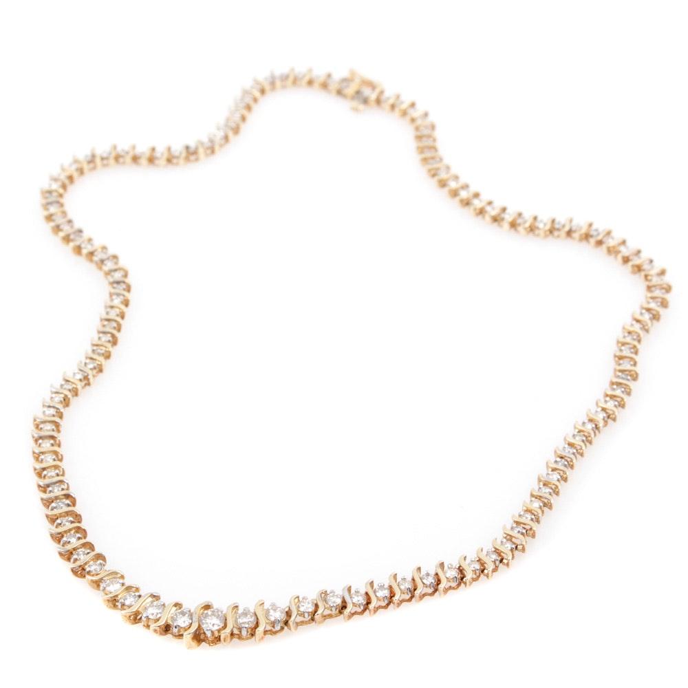 14K Yellow Gold 4.00 CTW Diamond Necklace