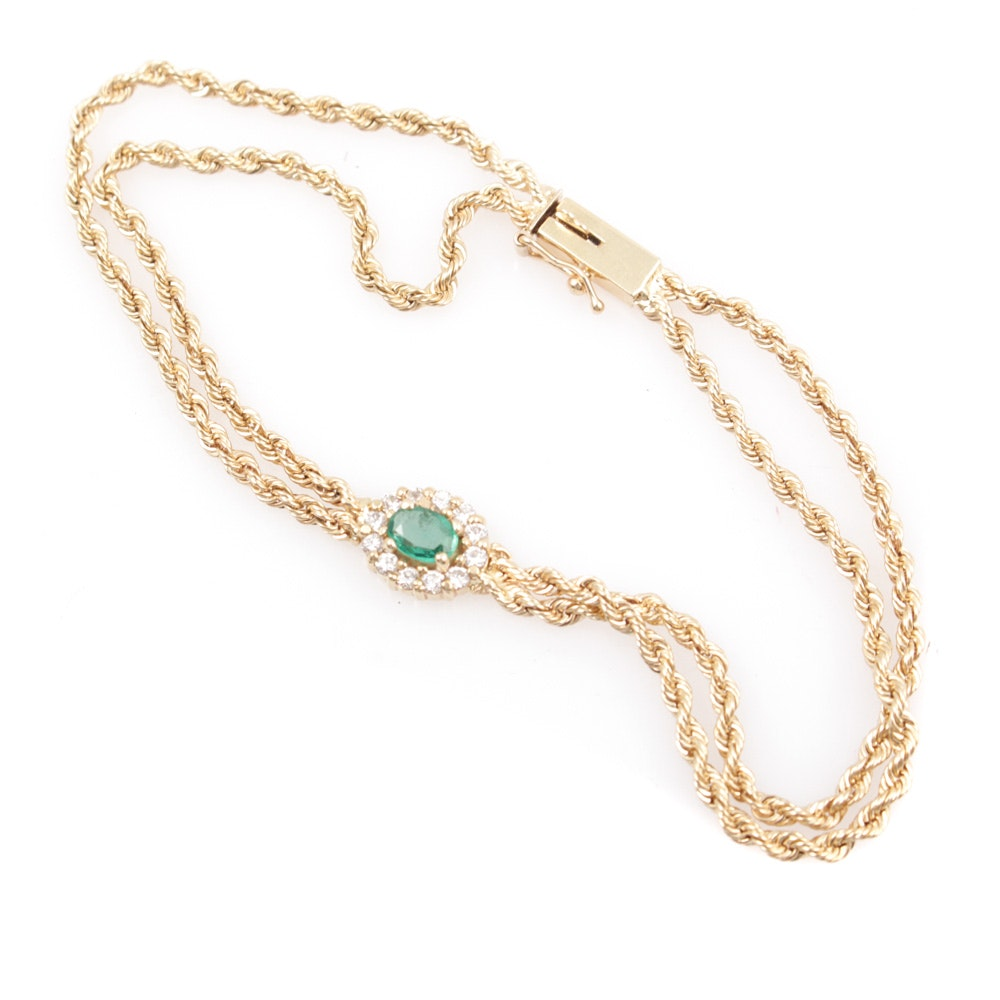 14K Yellow Gold Emerald and Diamond Bracelet
