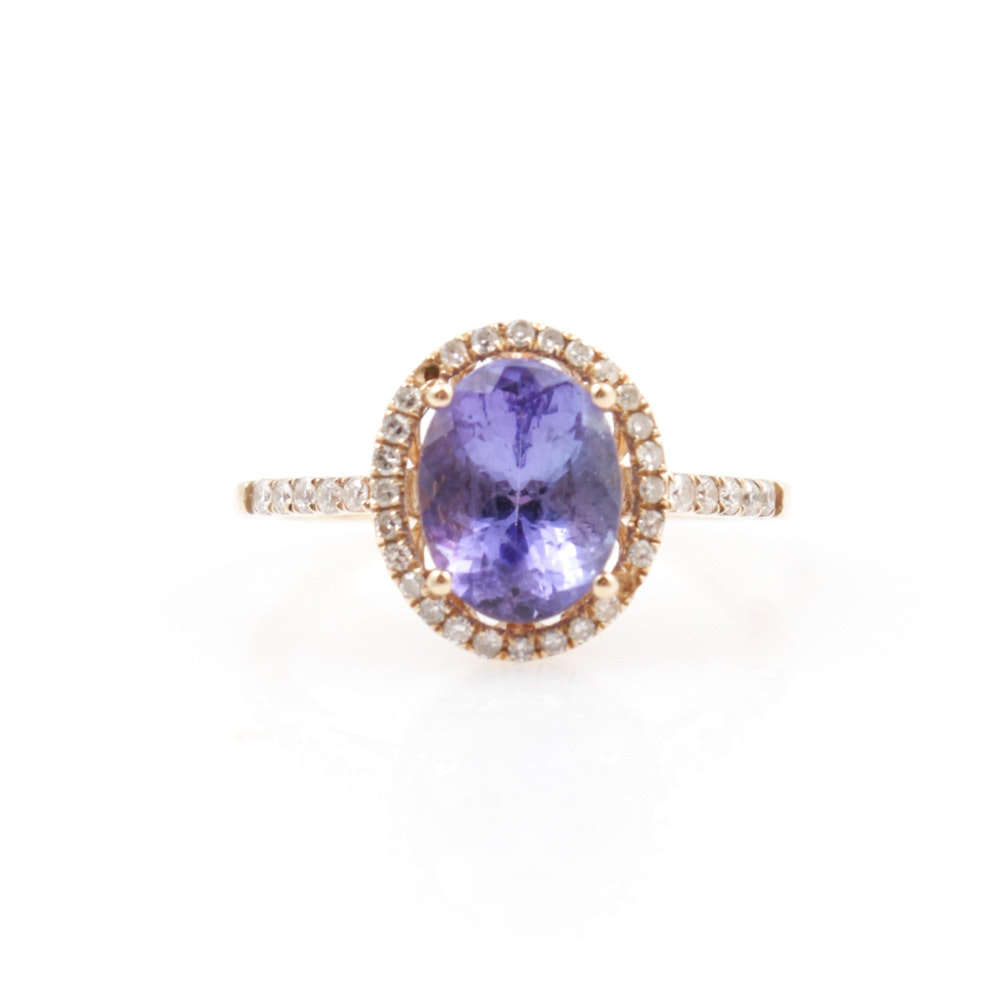 EFFY 14K Yellow Gold Tanzanite and Diamond Ring