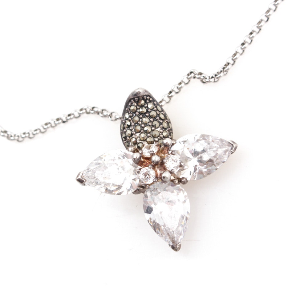Sterling Silver Marcasite and Cubic Zirconia Pendant Necklace