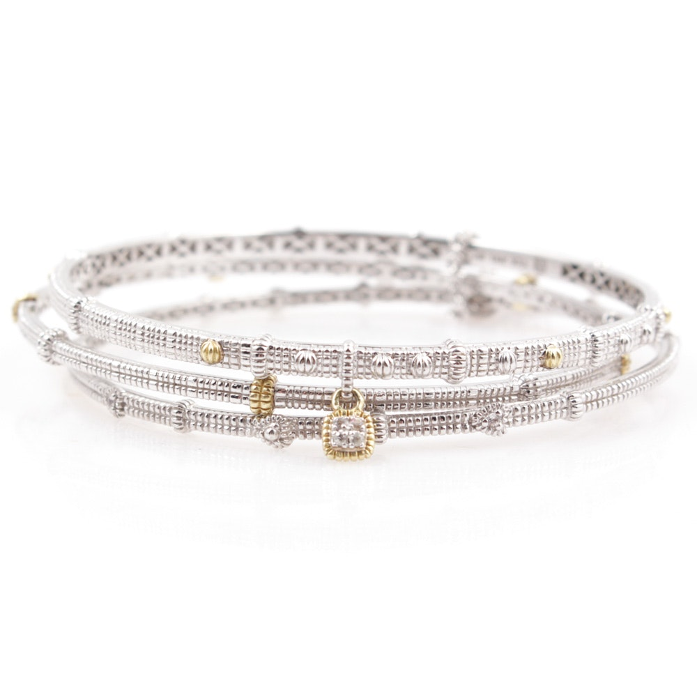 Judith Ripka Sterling Silver and 18K Gold Bangle Bracelets