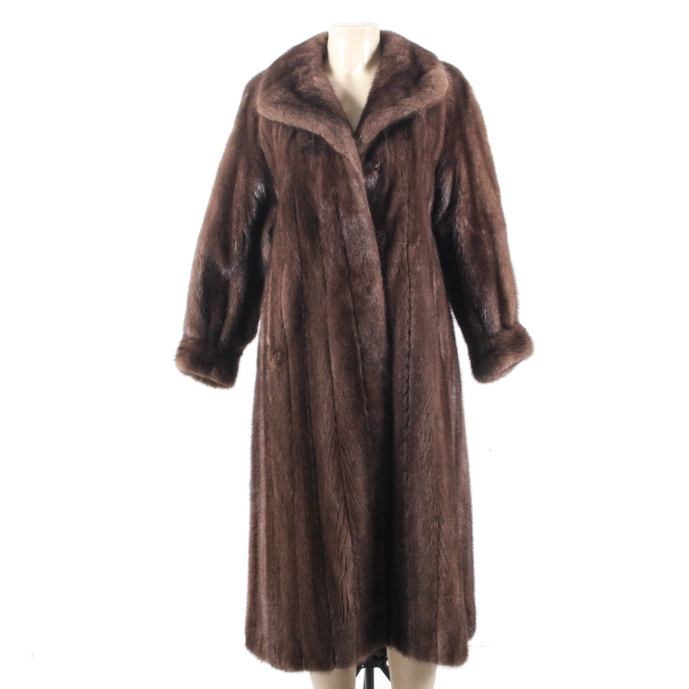 Full-Length Mahogany Ranched Mink Fur Coat