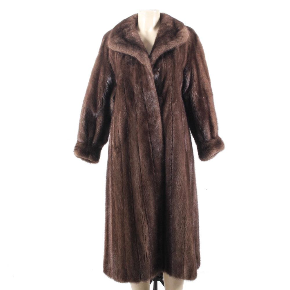Full-Length Mahogany Ranched Mink Fur Coat