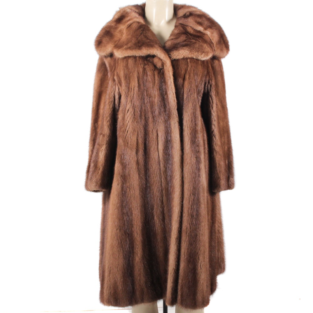 Vintage Full-Length Pastel Mink Fur Coat