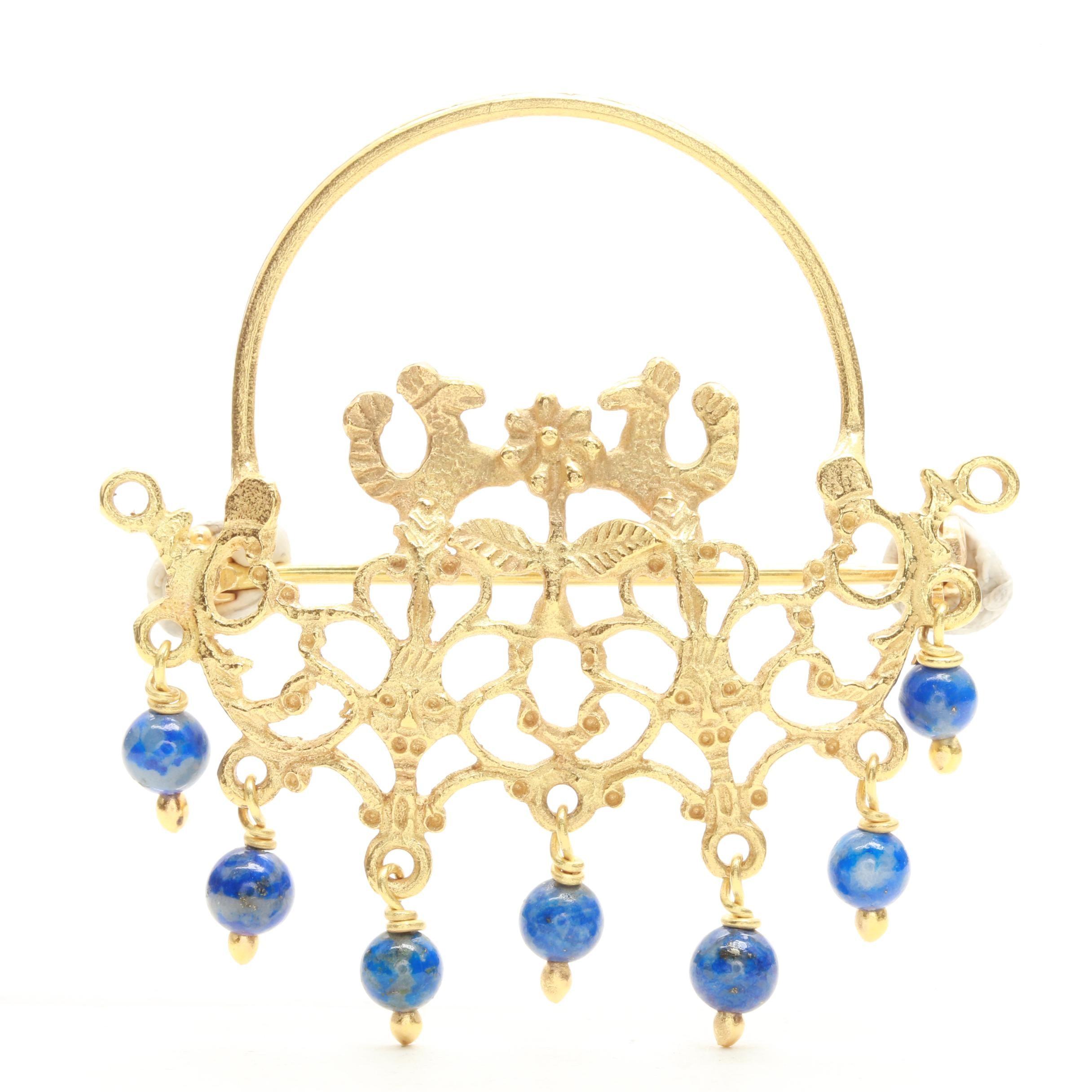 18K Yellow Gold Lapis Lazuli Beaded Openwork Brooch