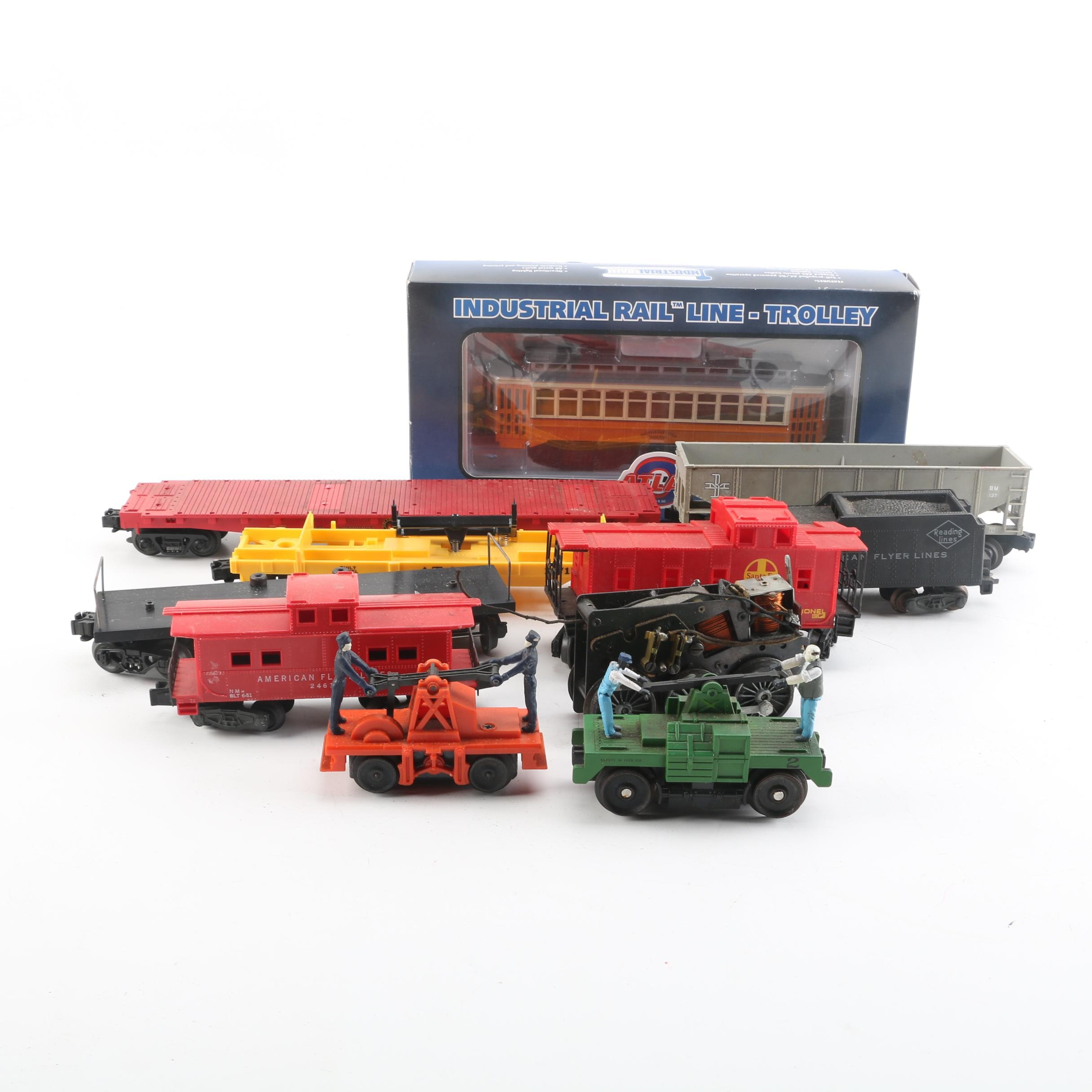 Atlas Industrial Rail Line Boston Trolley with Various Freight Train Cars