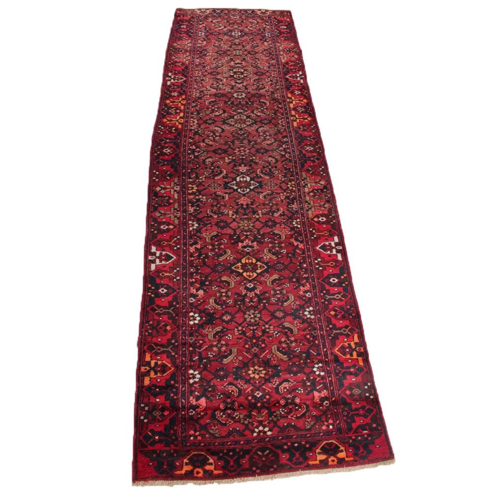 3'9 x 12'10 Vintage Hand-Knotted Persian Lilihan Sarouk Carpet Runner