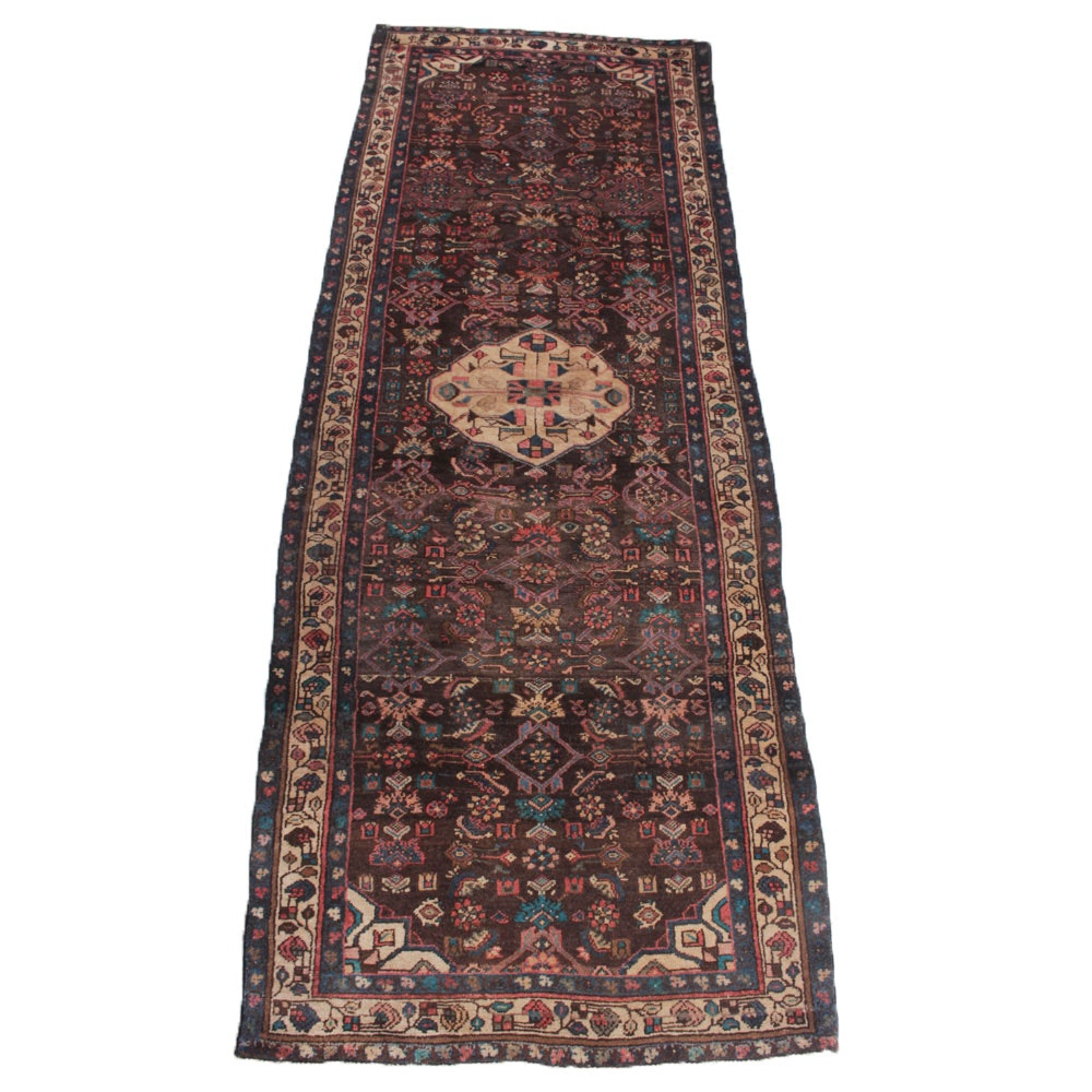 3'9 x 10'2 Vintage Hand-Knotted Persian Malayer Sarouk Carpet Runner