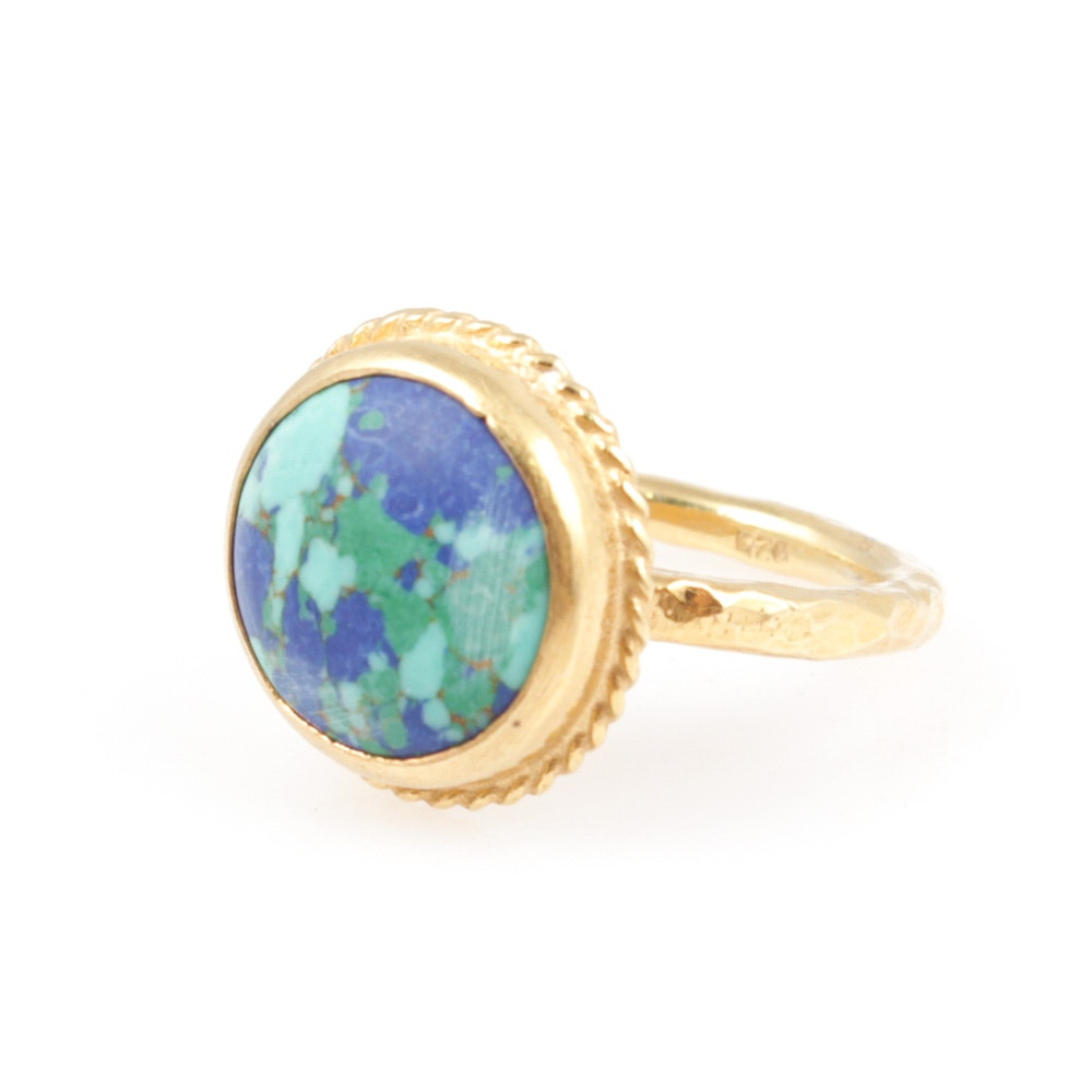 Gold Wash on Sterling Silver Turquoise and Lapis Lazuli Ring