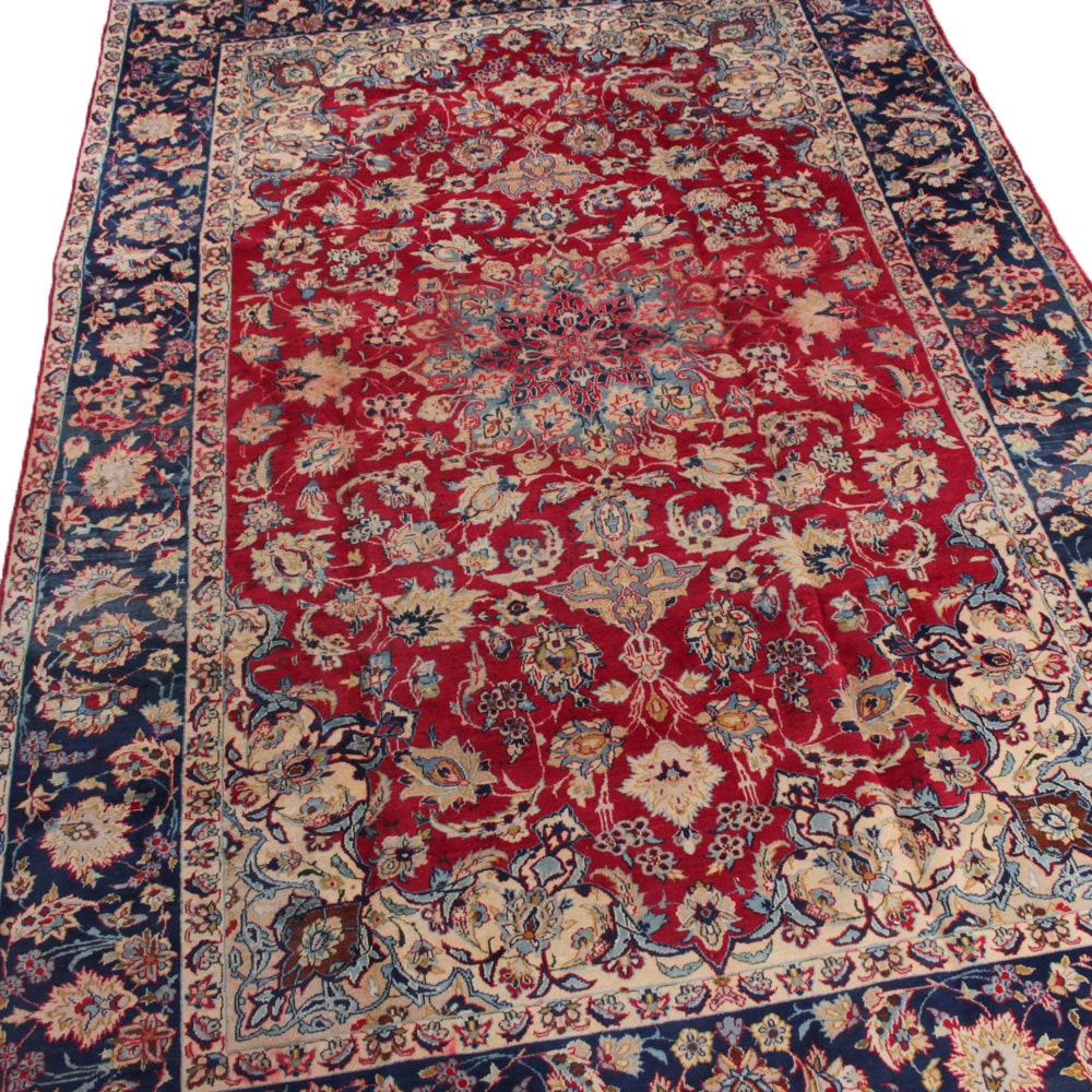 Vintage Hand-Knotted Persian Isfahan Room Size Rug