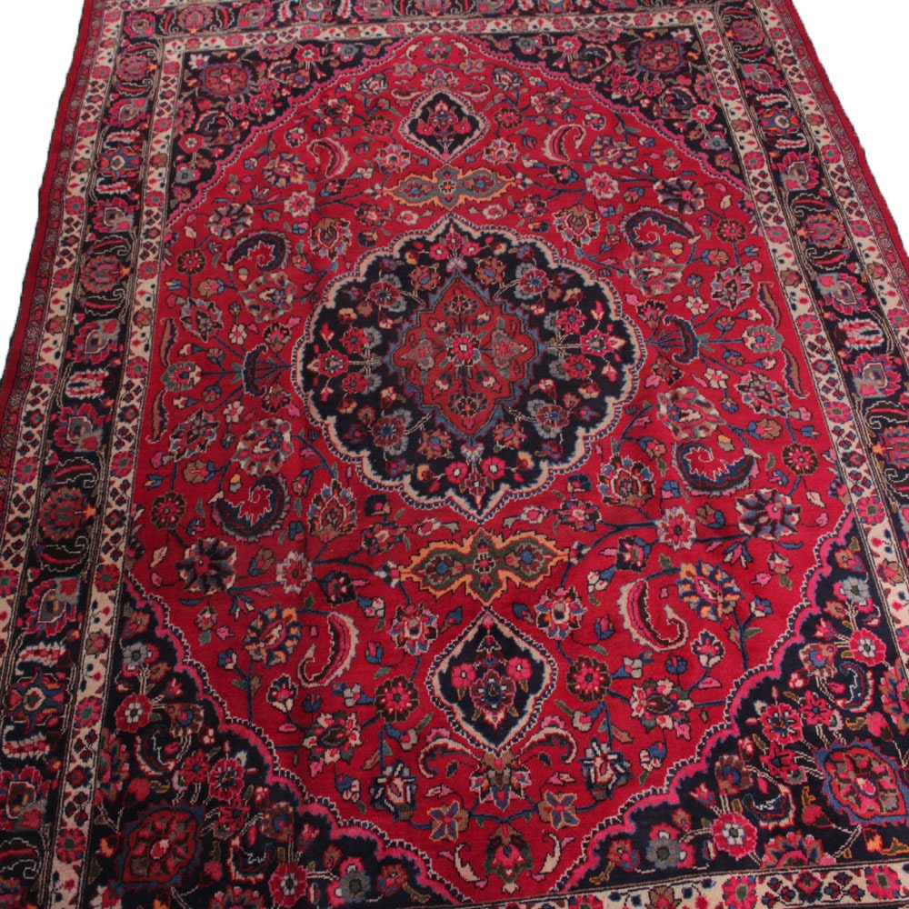 8'2 x 12'4 Hand-Knotted Vintage Persian Mashad Area Rug