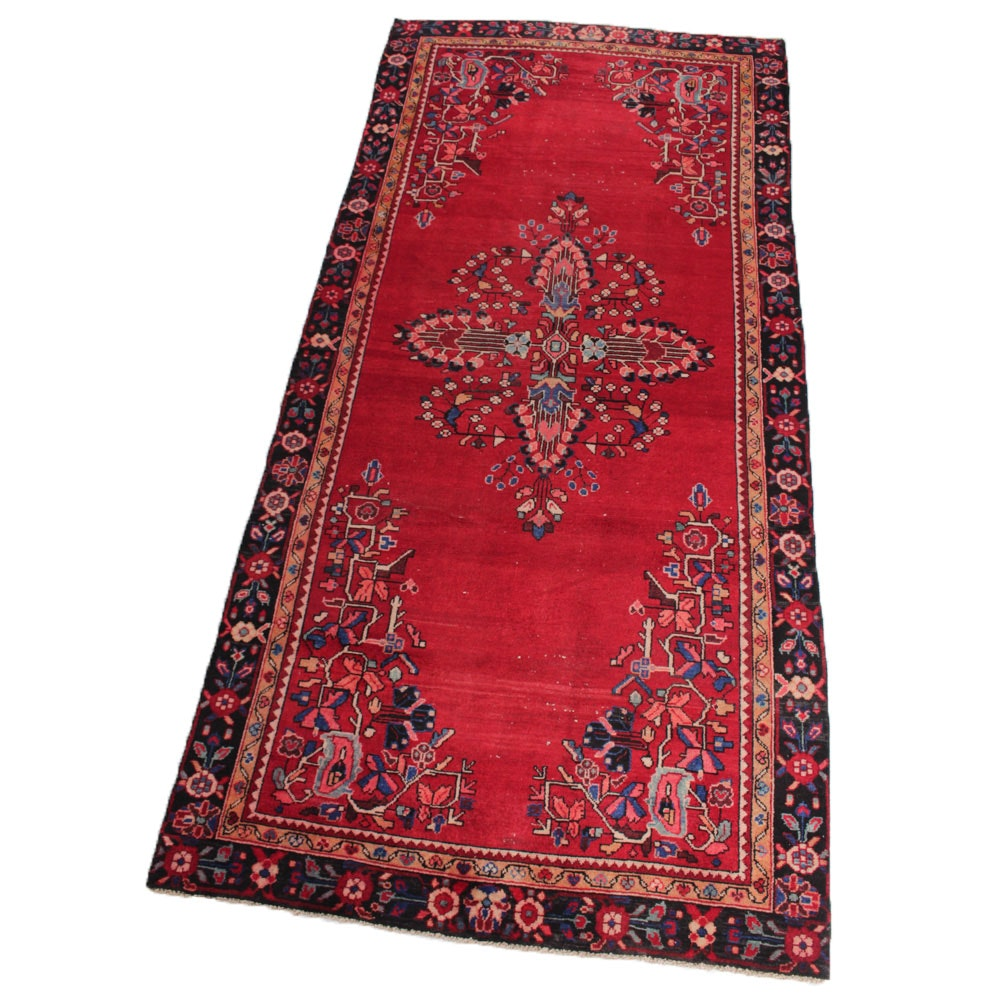 4'8 x 10'8 Vintage Hand-Knotted Persian Mahal Sarouk Area Rug