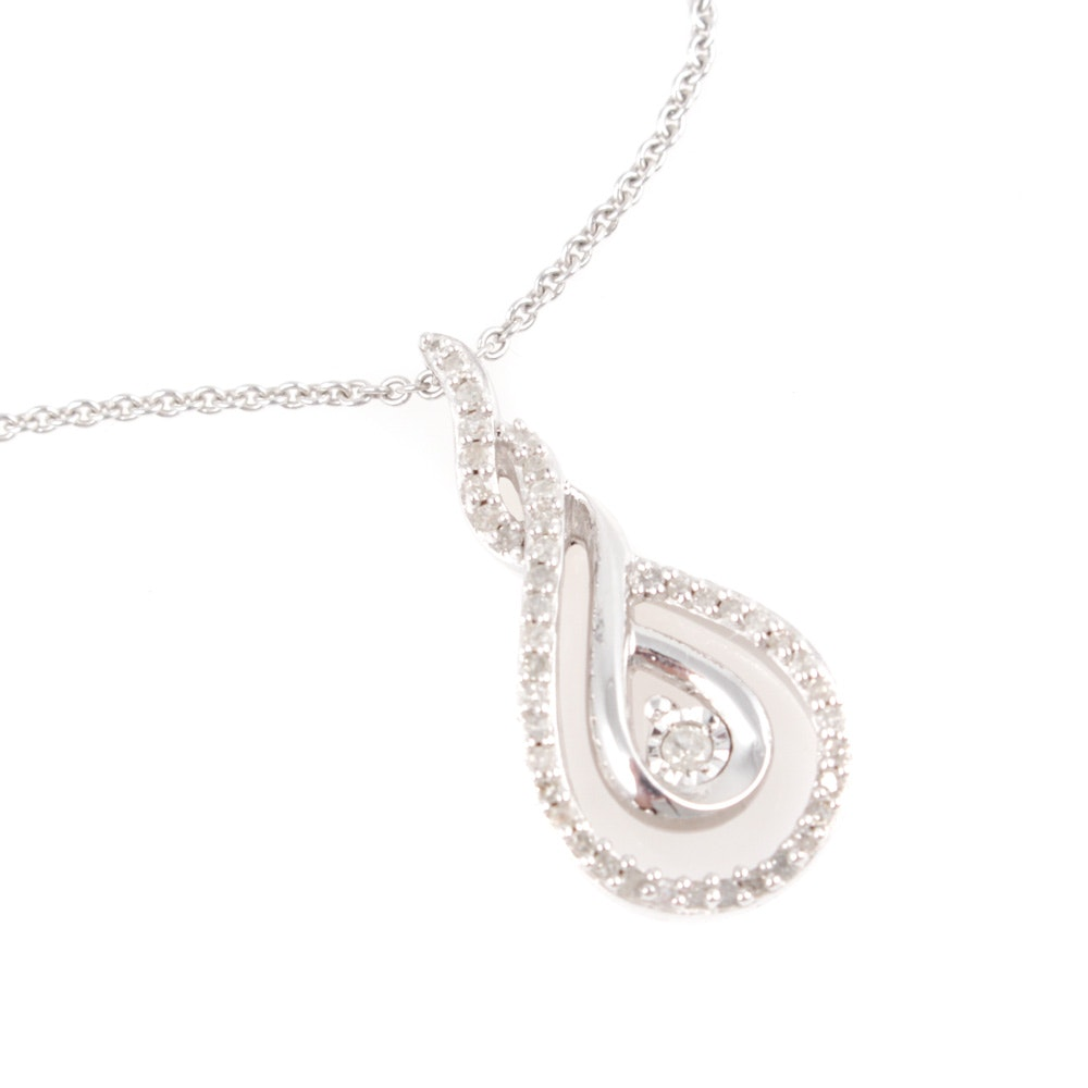 Karizia Italian Sterling Silver Diamond Pendant Necklace