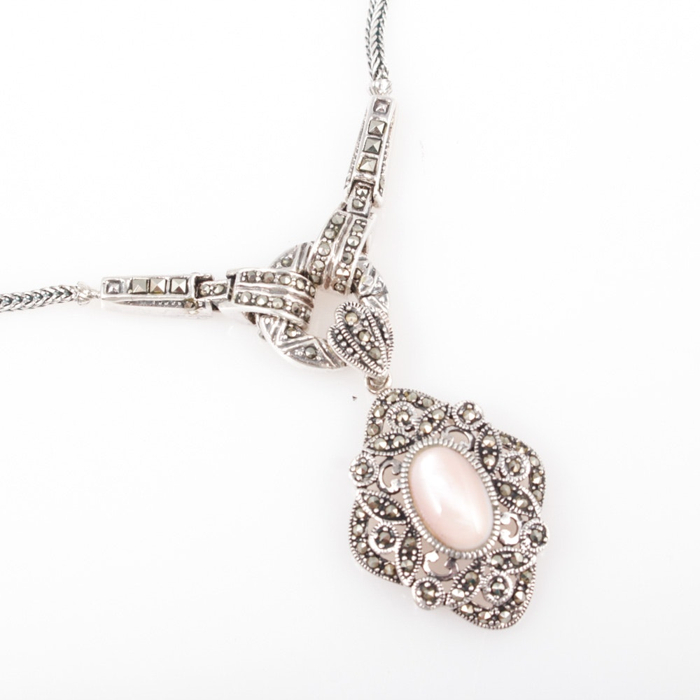 Sterling Silver, Marcasite and Mother of Pearl Pendant Necklace