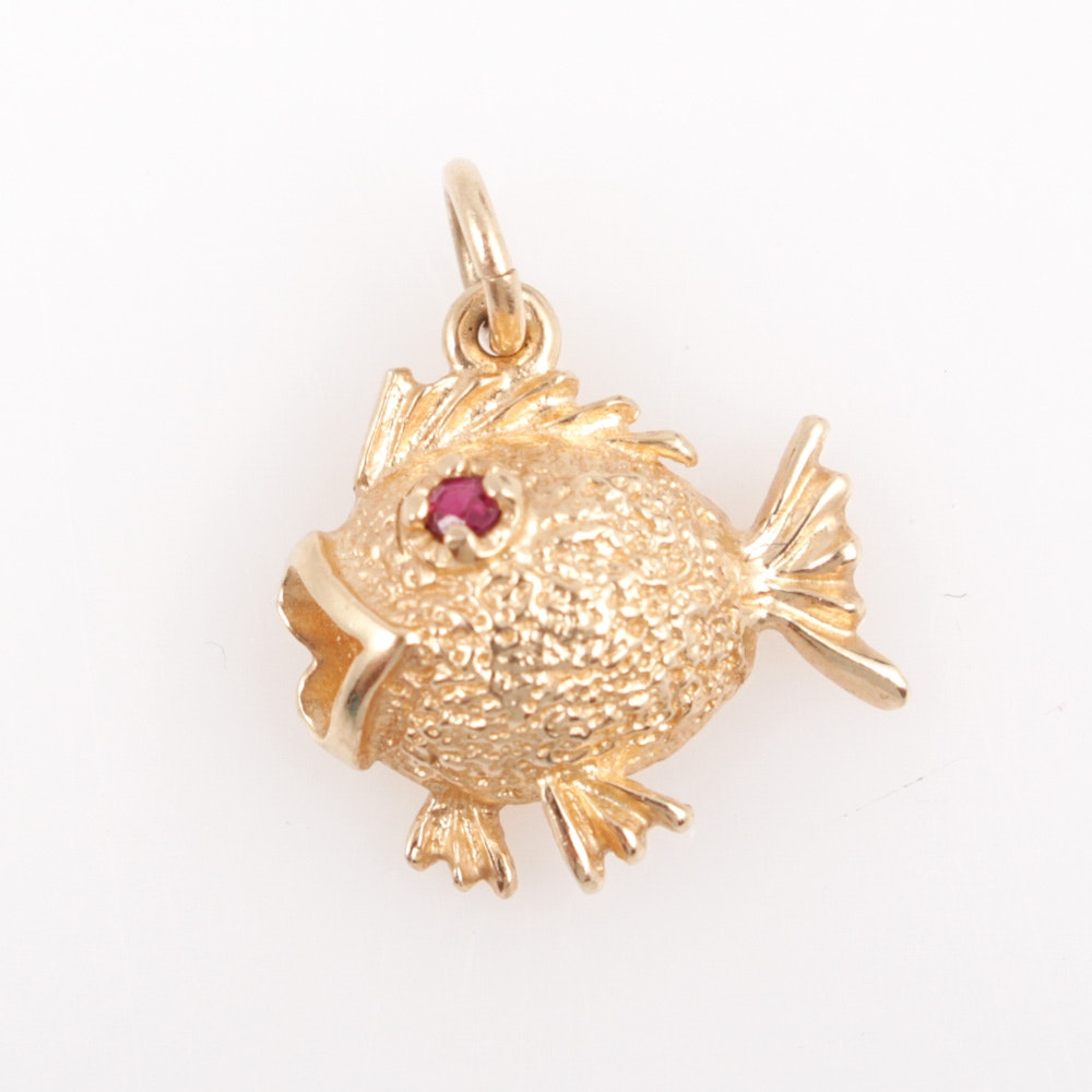 14K Yellow Gold and Ruby Fish Pendant
