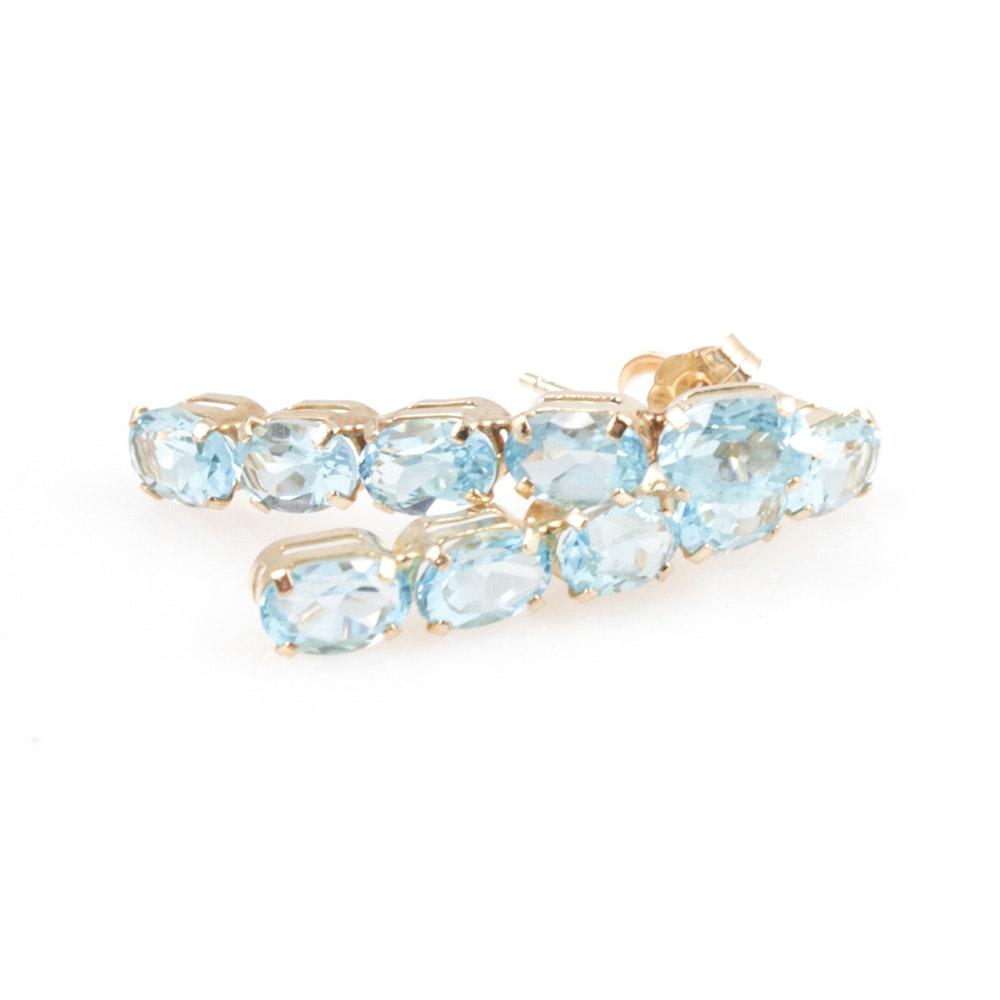 14K Yellow Gold Blue Topaz Earrings
