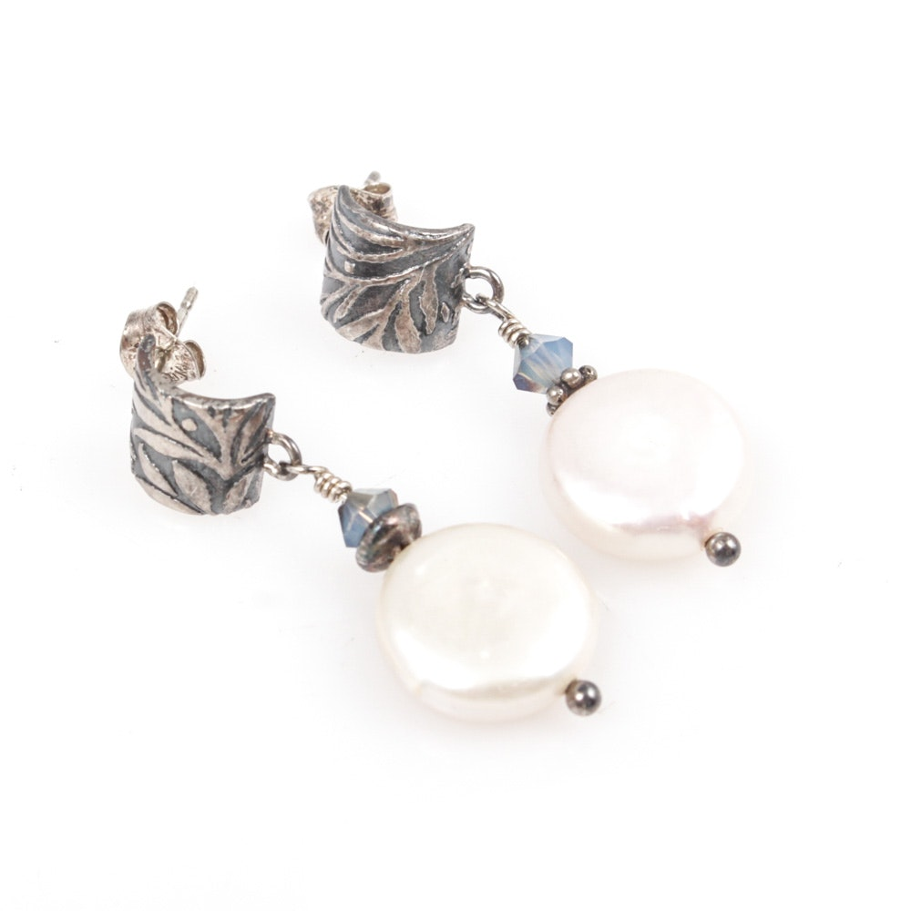 Sterling Silver and Cultured Pearl Earrings