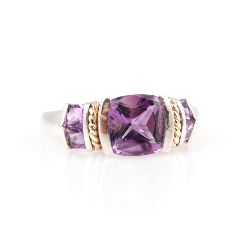 Sterling Silver, 14K Yellow Gold and Amethyst Ring