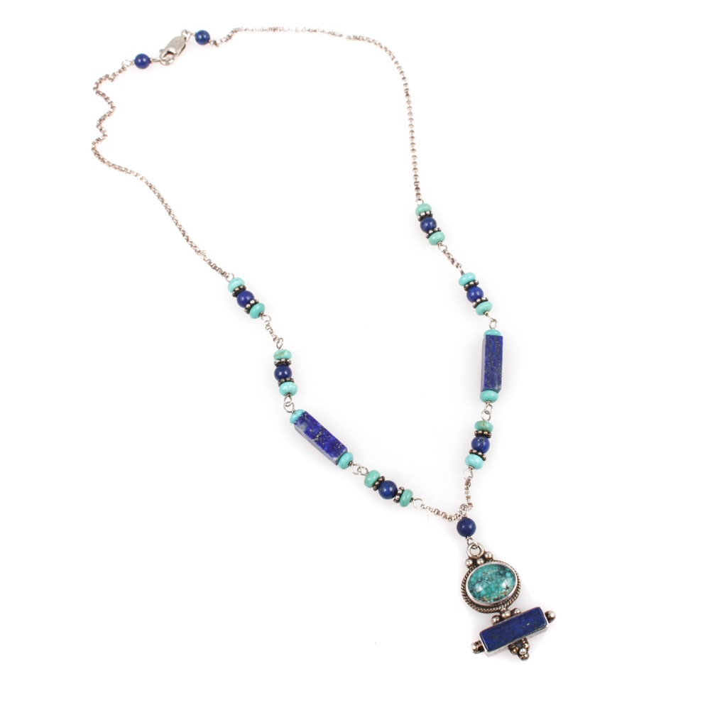 Sterling Silver, Turquoise, and Lapis Lazuli Necklace