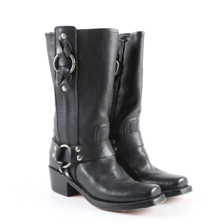 cd243dbb0883 Women s Frye Black Leather Harness Motorcycle Boots   EBTH