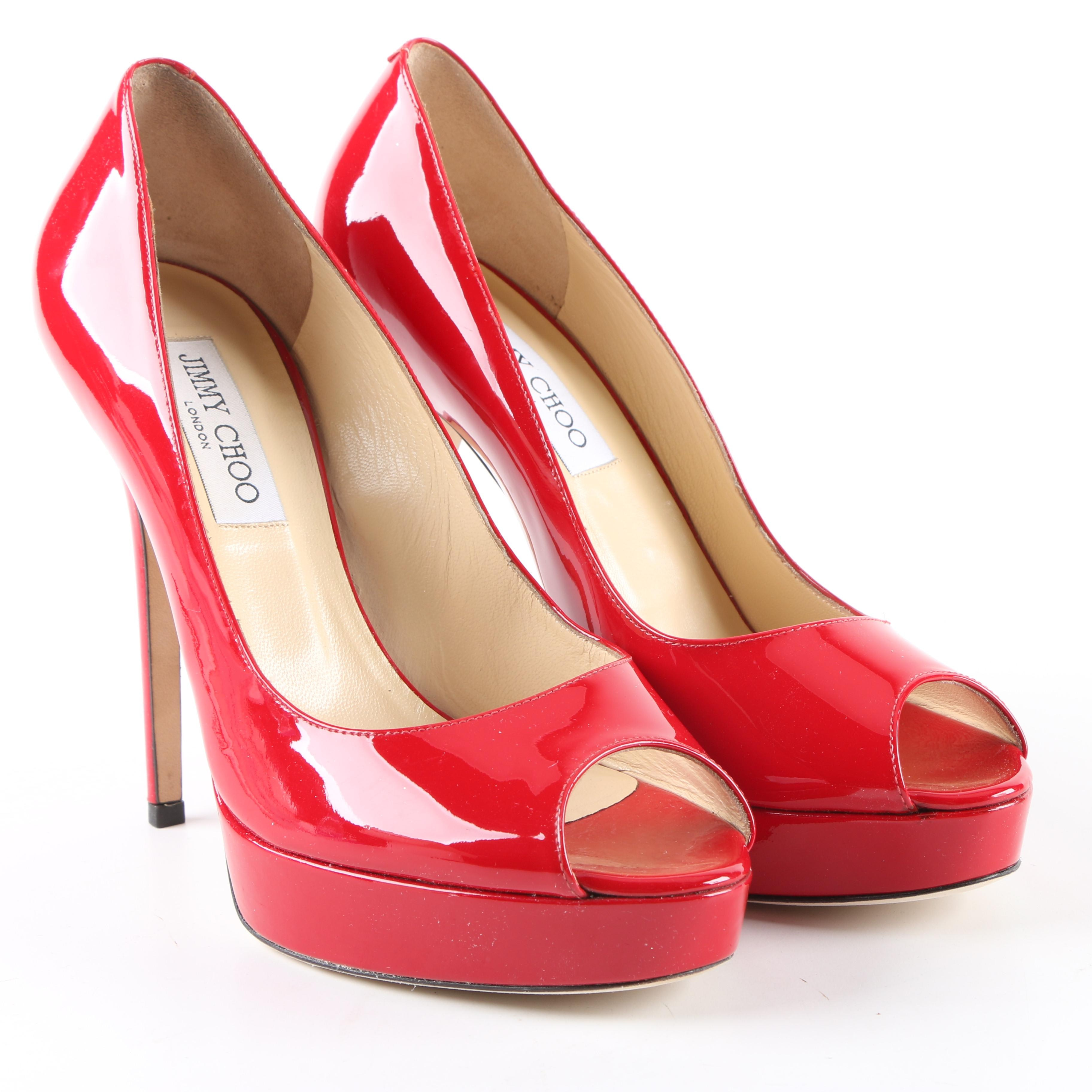 Jimmy Choo Crown Red Patent Leather Peep-Toe Platform Pumps