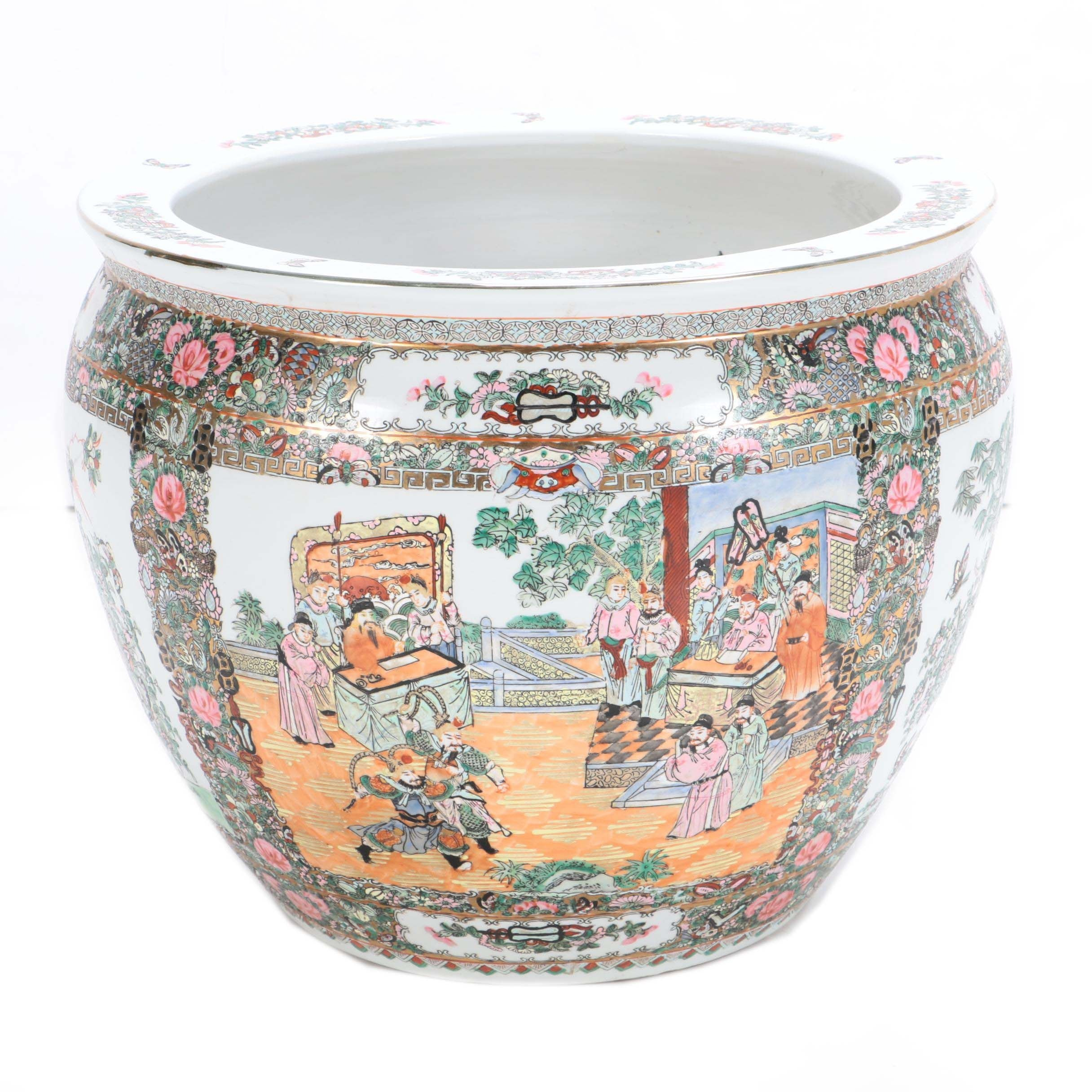 Chinese Ceramic Fish Bowl Planter with Bird, Floral and Figural Scenes