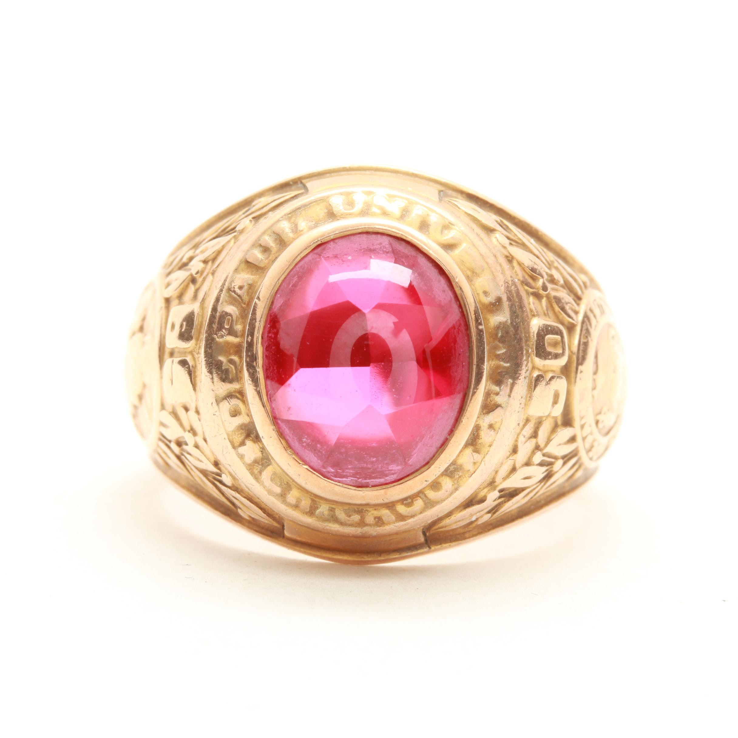 10K Yellow Gold Synthetic Spinel DePaul University Class Ring