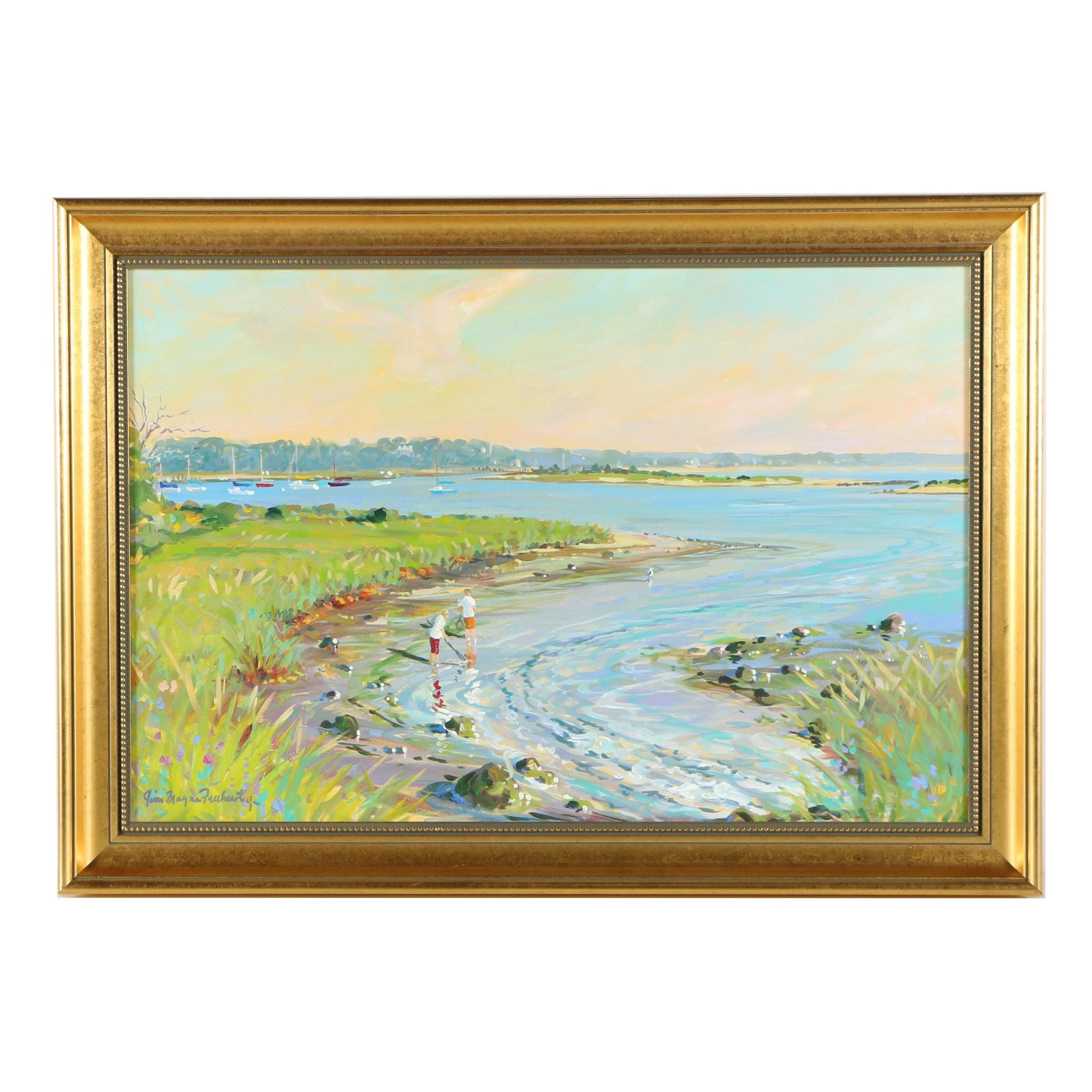 Jim Mayne Freeheart Acrylic Painting of Coastal Landscape