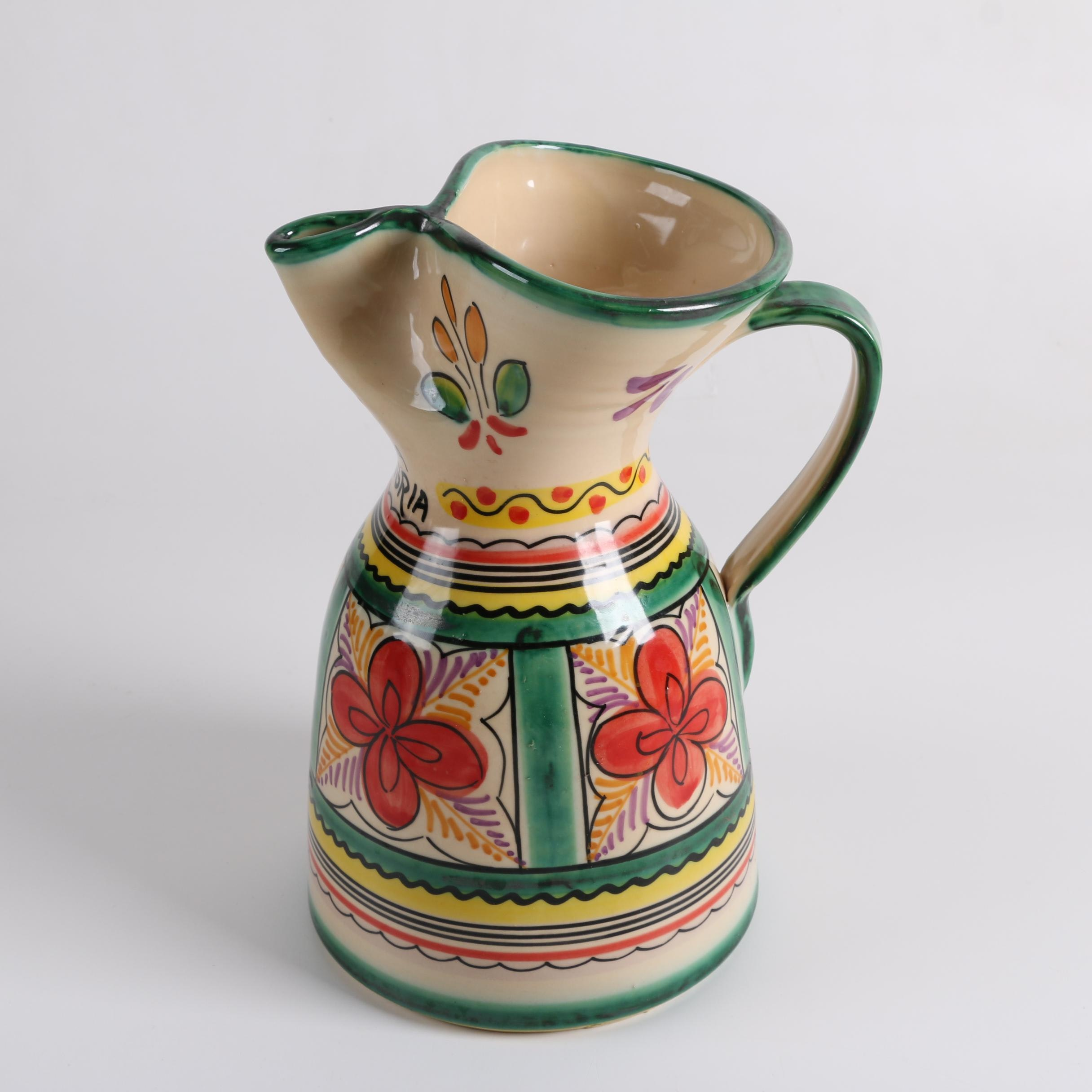 Spanish Loleal Hand Painted Sangria Pitcher
