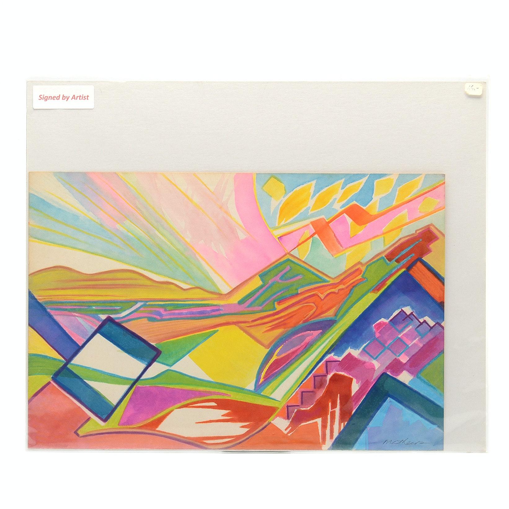 "Carol Mathews Original Watercolor Painting on Paper ""Landscape"""